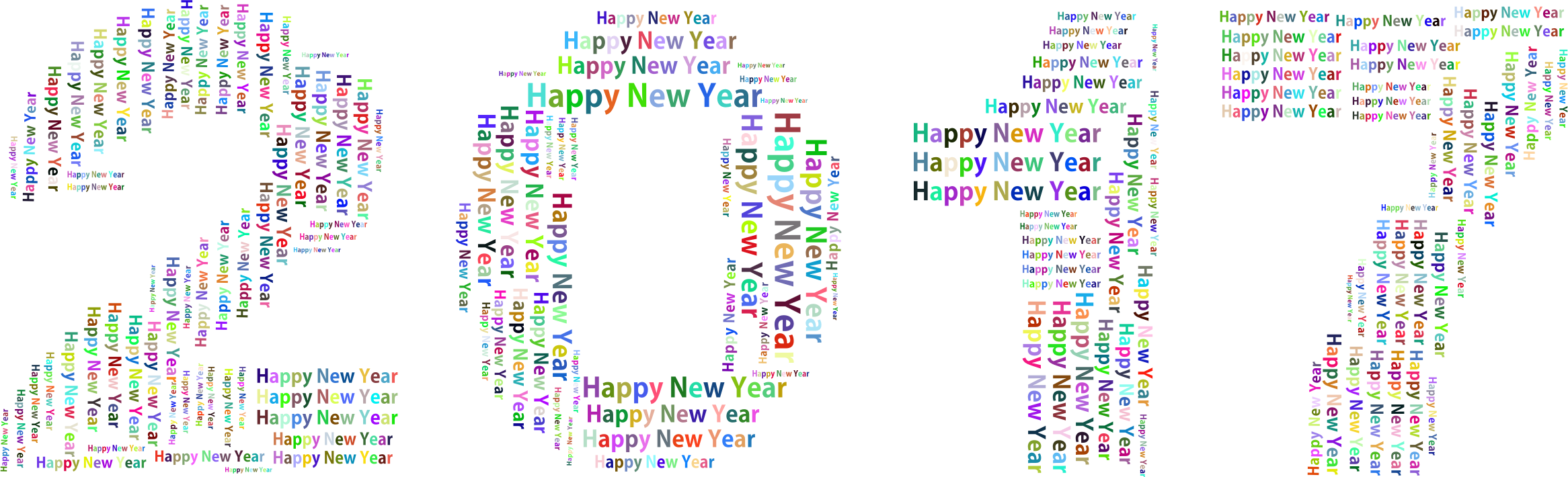Prismatic Happy New Year 2017 Word Cloud No Background by GDJ