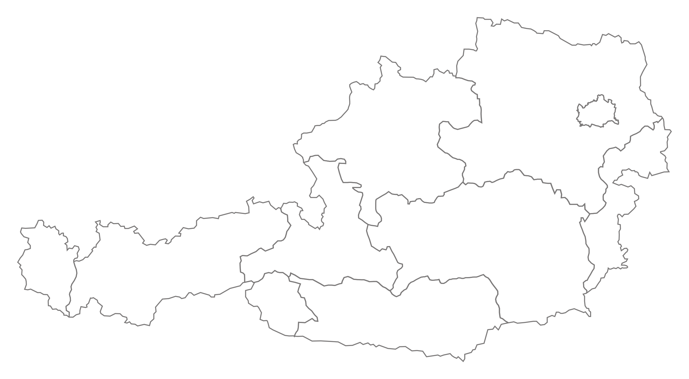 Clipart Empty Map Of Austria With Borders Of The States - World map austria
