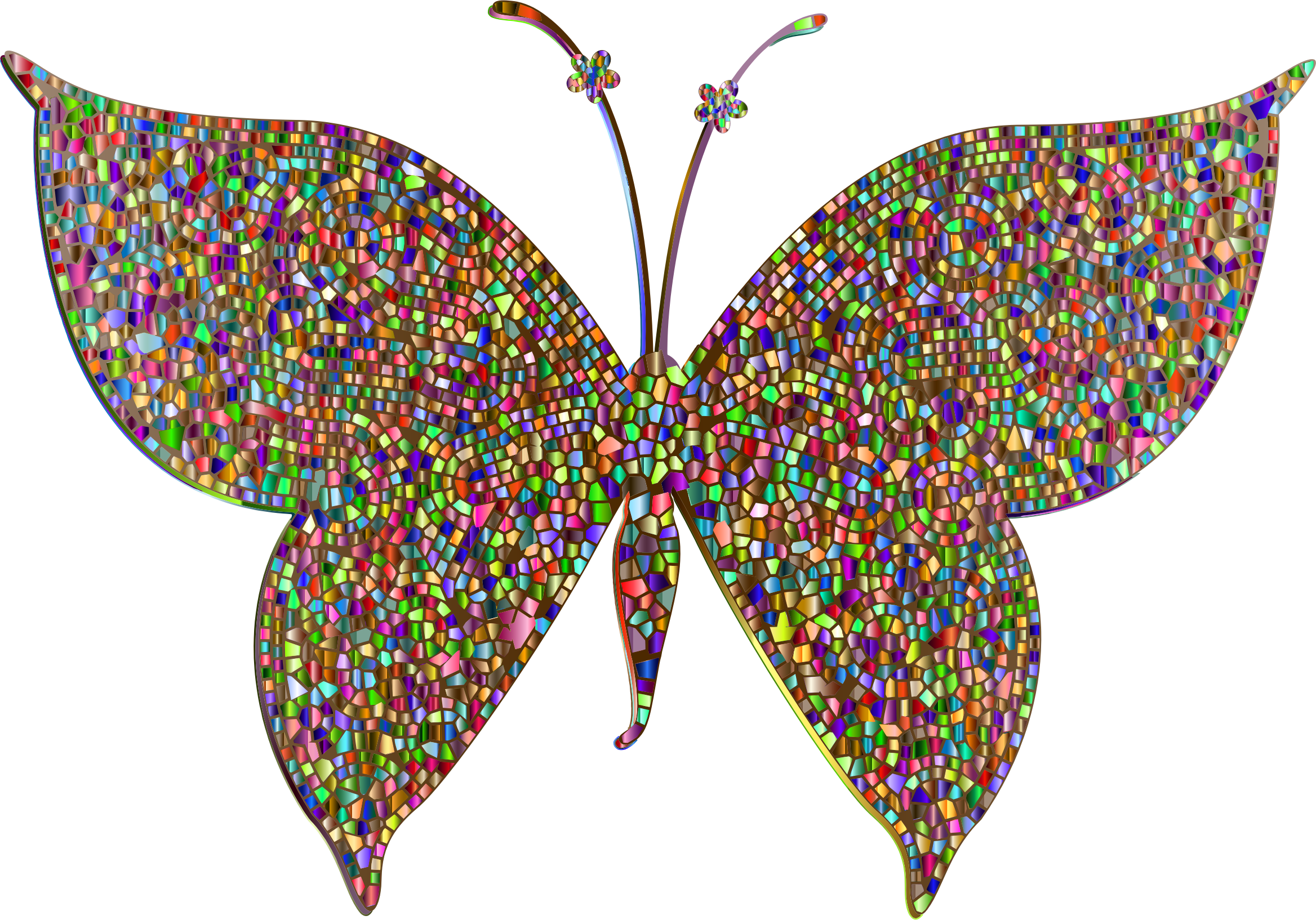 Prismatic Colorful Tiled Butterfly 4 by GDJ