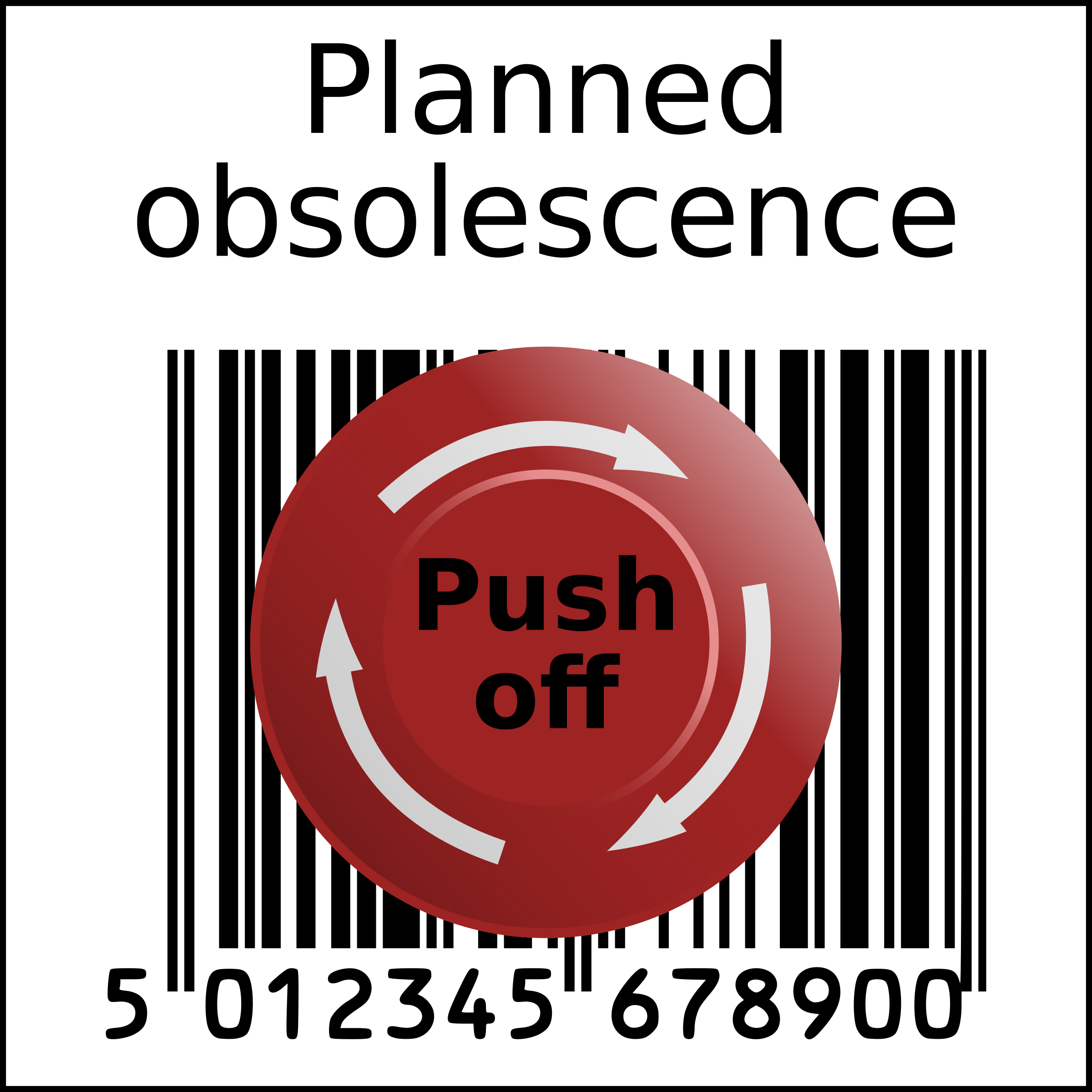 Planned obsolescence barcode in squarre with Emergency Push off button by sodruls