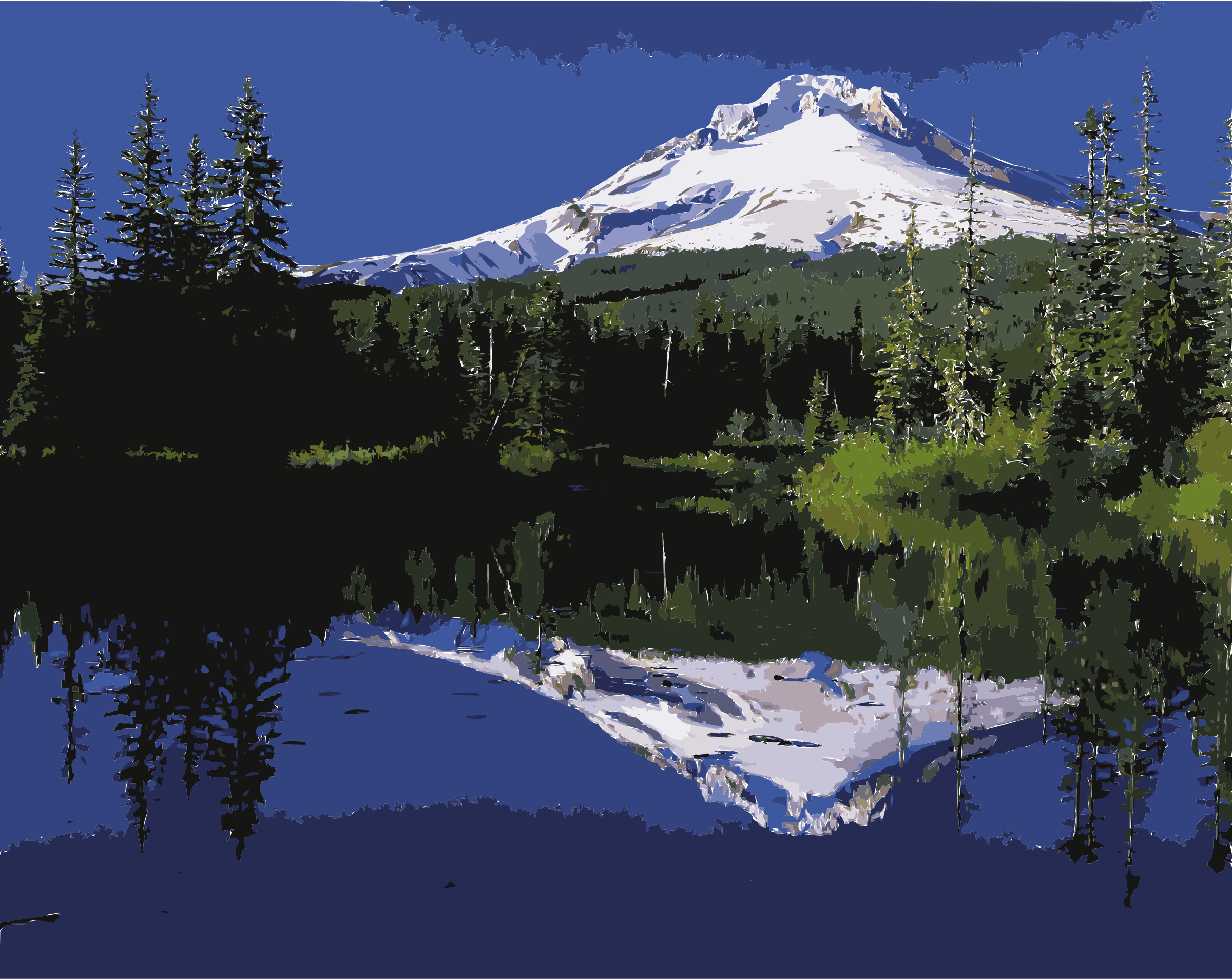 Mount Hood reflected in Mirror Lake, Oregon by 5n7epj+9741chlinrj78