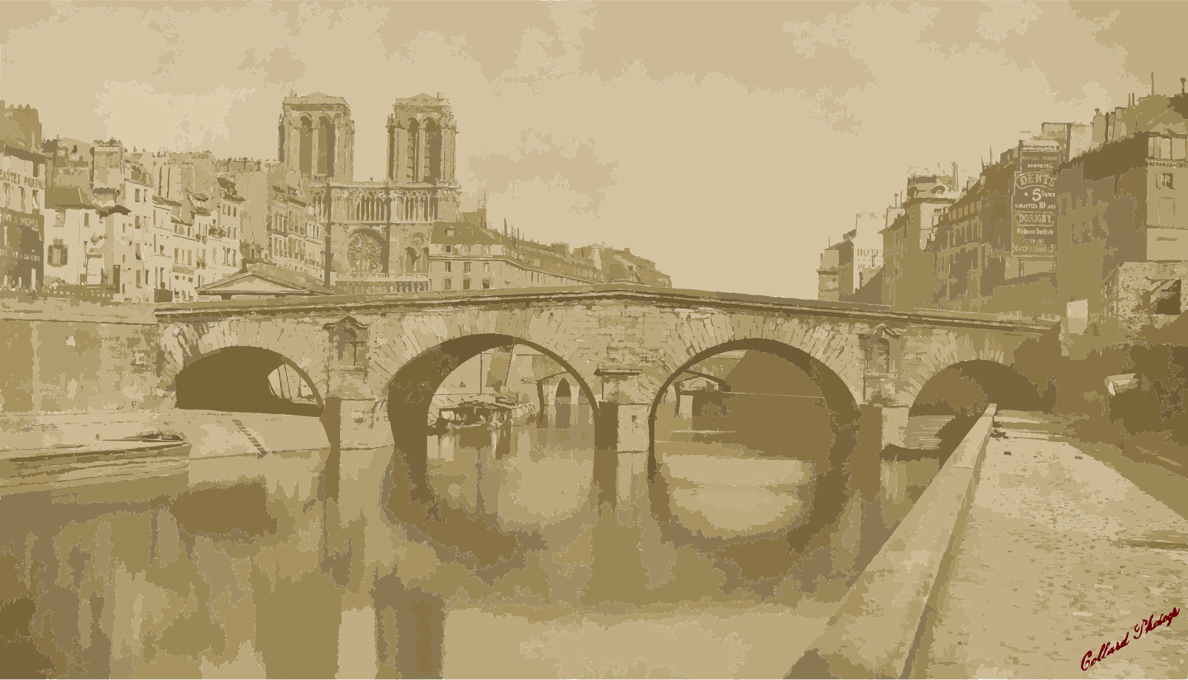 Auguste-Hippolyte Collard, Ancien pont Saint-Michel, 1857 by 5n9sst+earkddiows40g
