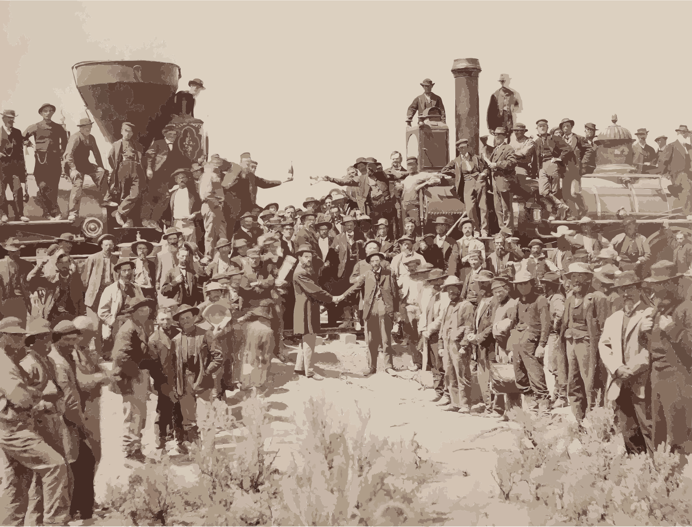 East and West Shaking hands at the laying of last rail Union Pacific Railroad - Restoration by 5n9sst+earkddiows40g