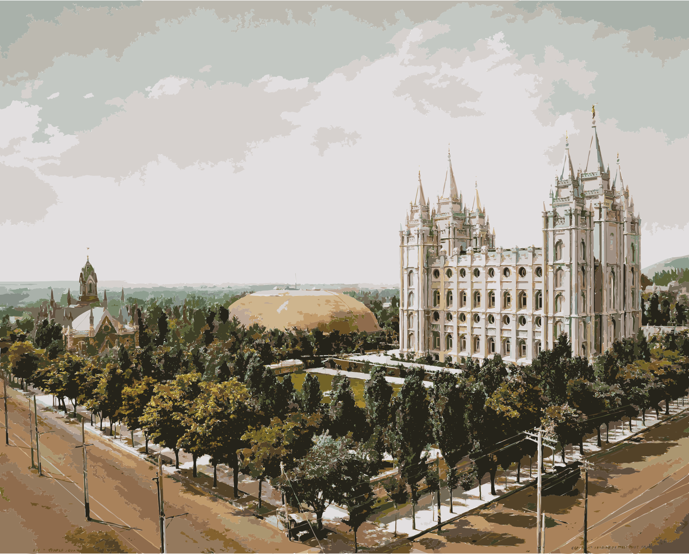 Temple Square, Salt Lake City, 1899 retouched by 5n9sst+earkddiows40g