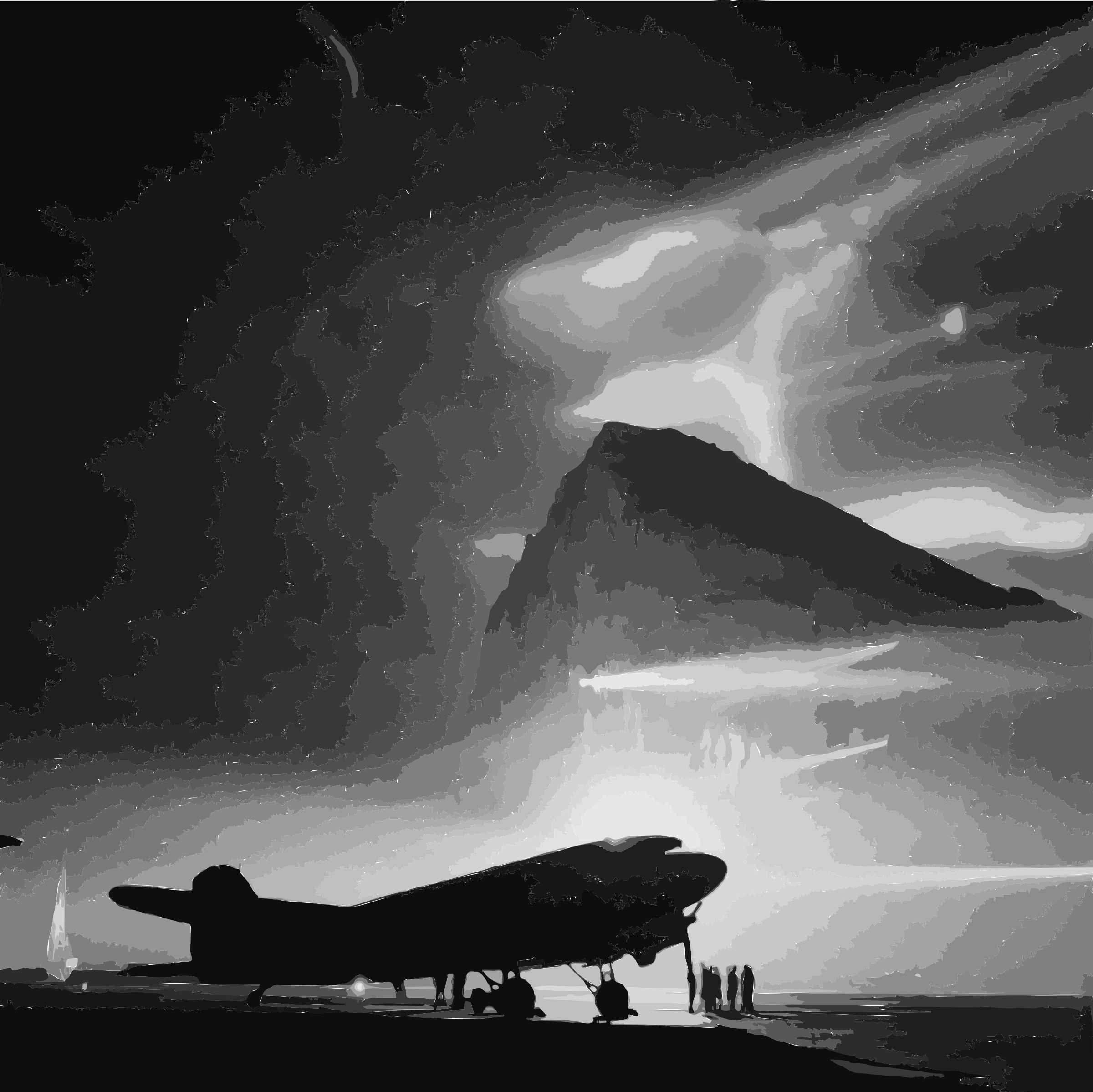 Douglas DC-3 of BOAC at Gibraltar, silhouetted by searchlights on the Rock by 5nbz3a+45jqtl07aorc