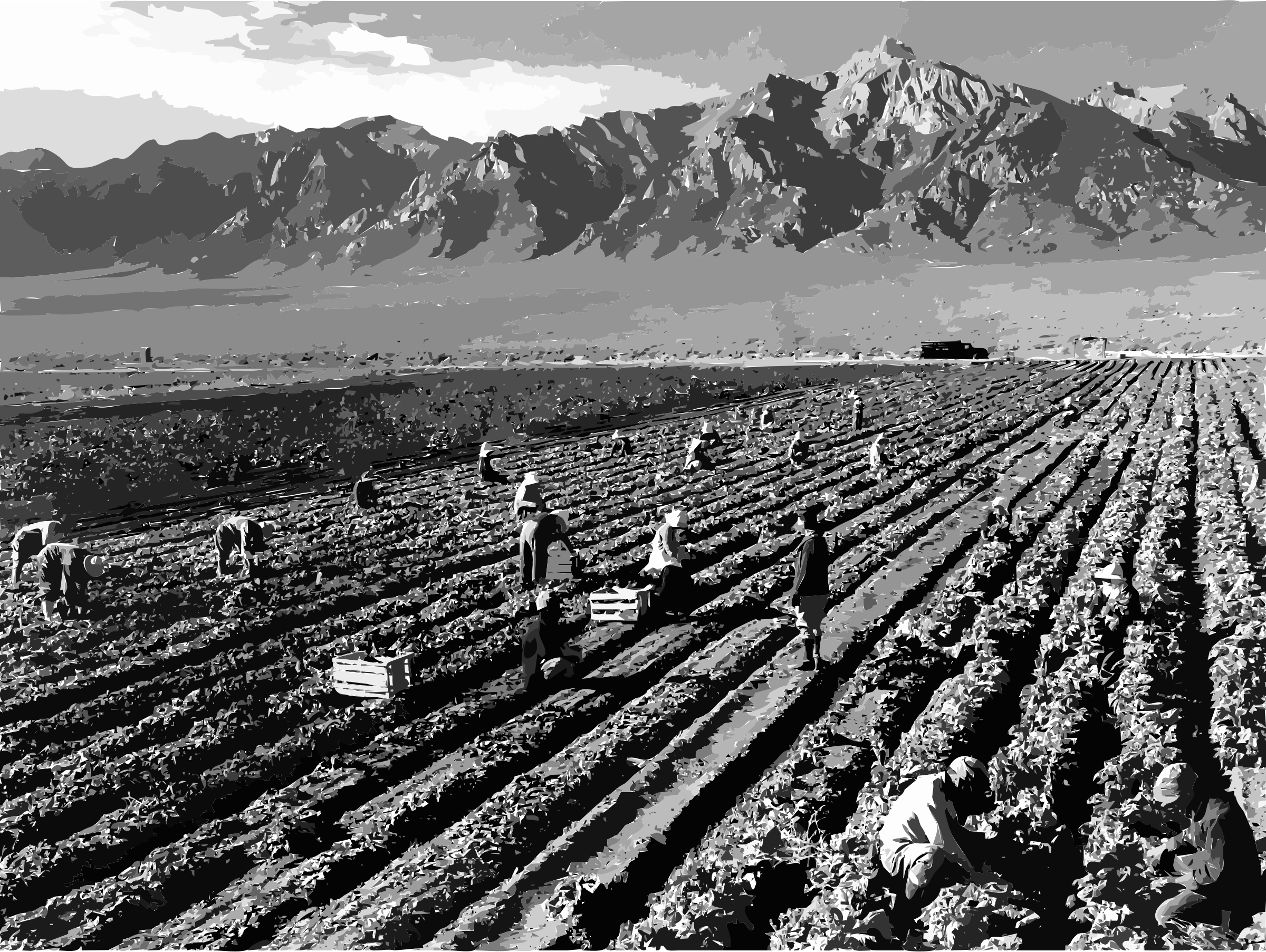 Ansel Adams - Farm workers and Mt. Williamson by 5nbz3a+45jqtl07aorc