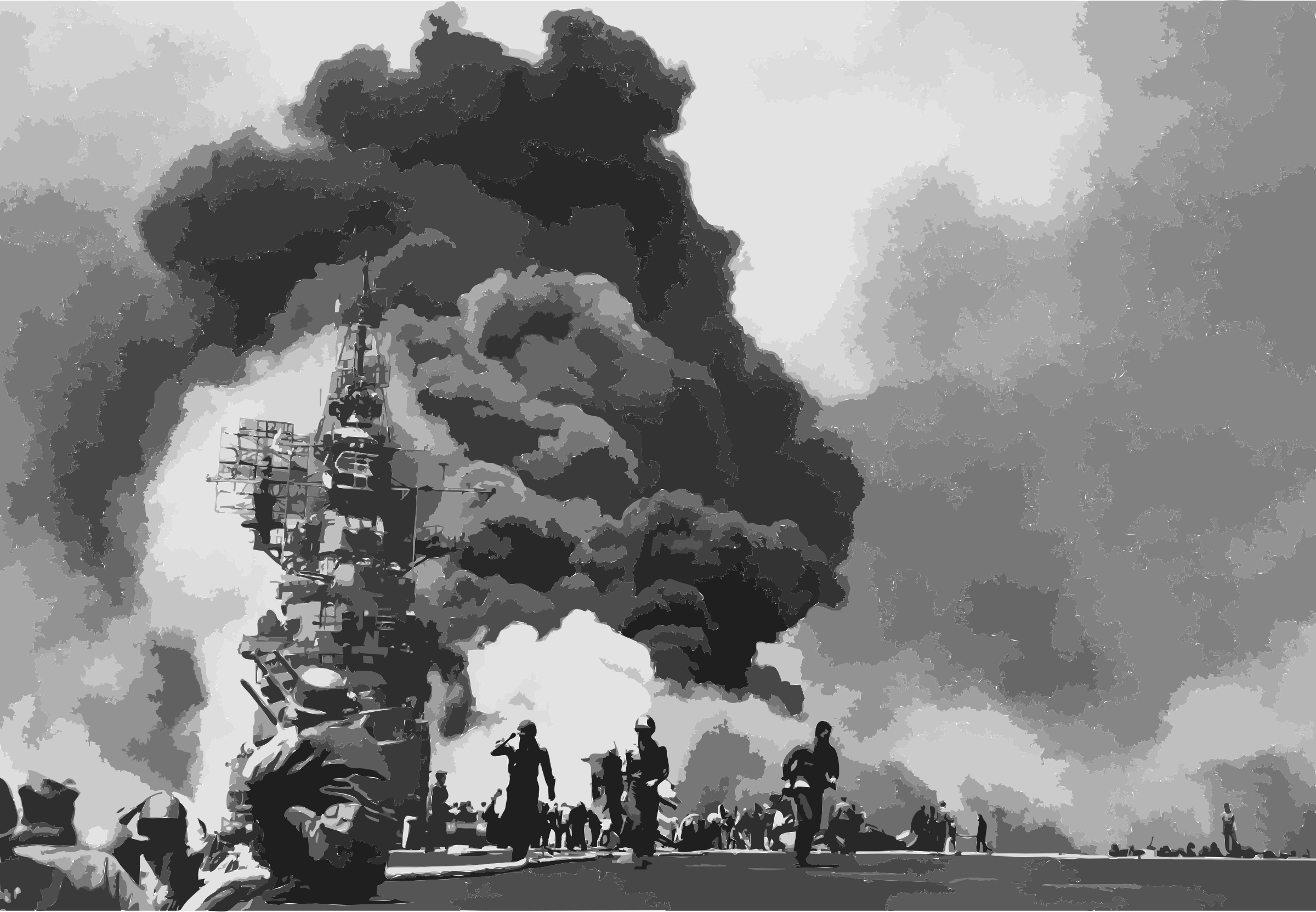 USS Bunker Hill hit by two Kamikazes by 5nbz3a+45jqtl07aorc