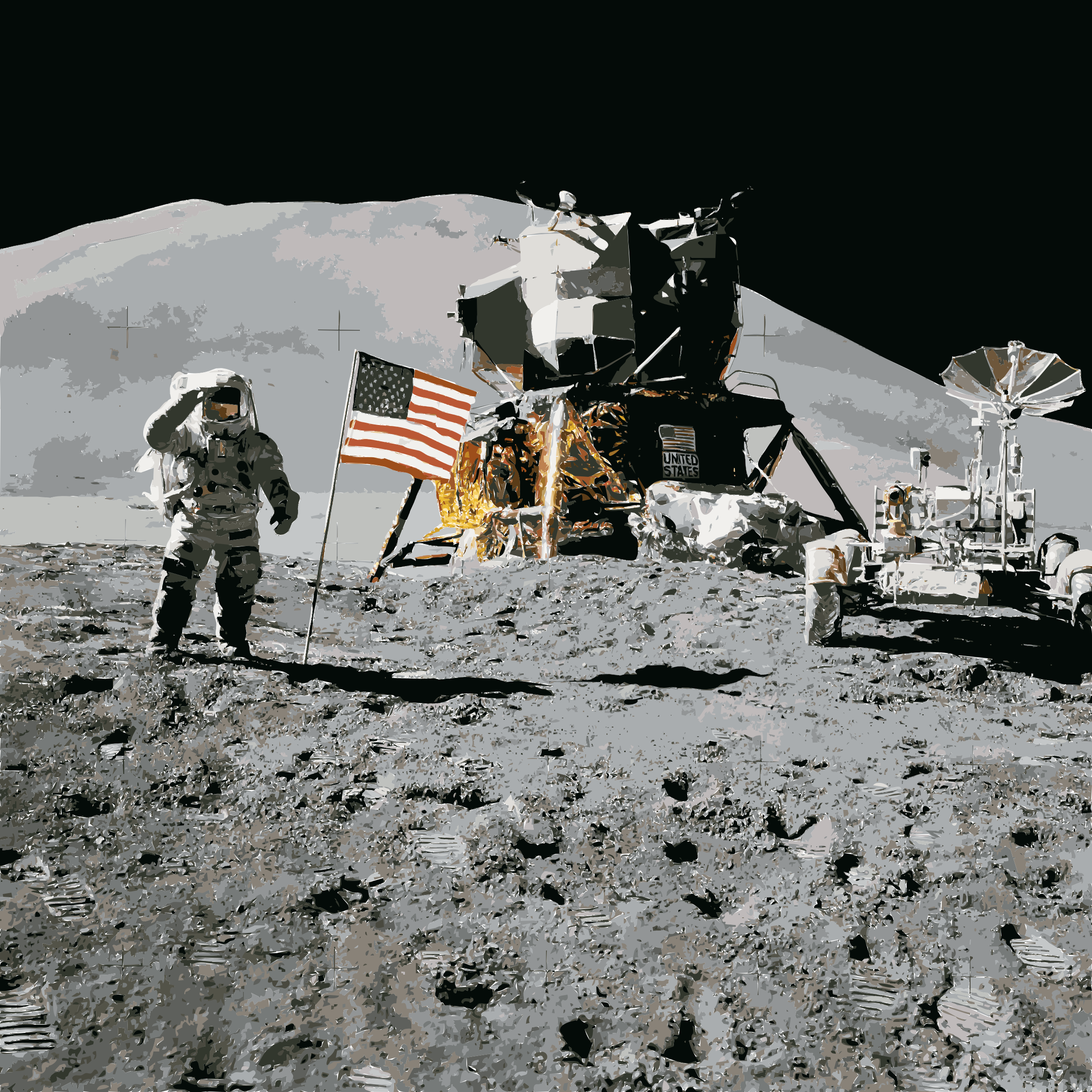 Apollo 15 flag, rover, LM, Irwin by 5ncrcv+exryzbsq0bgao