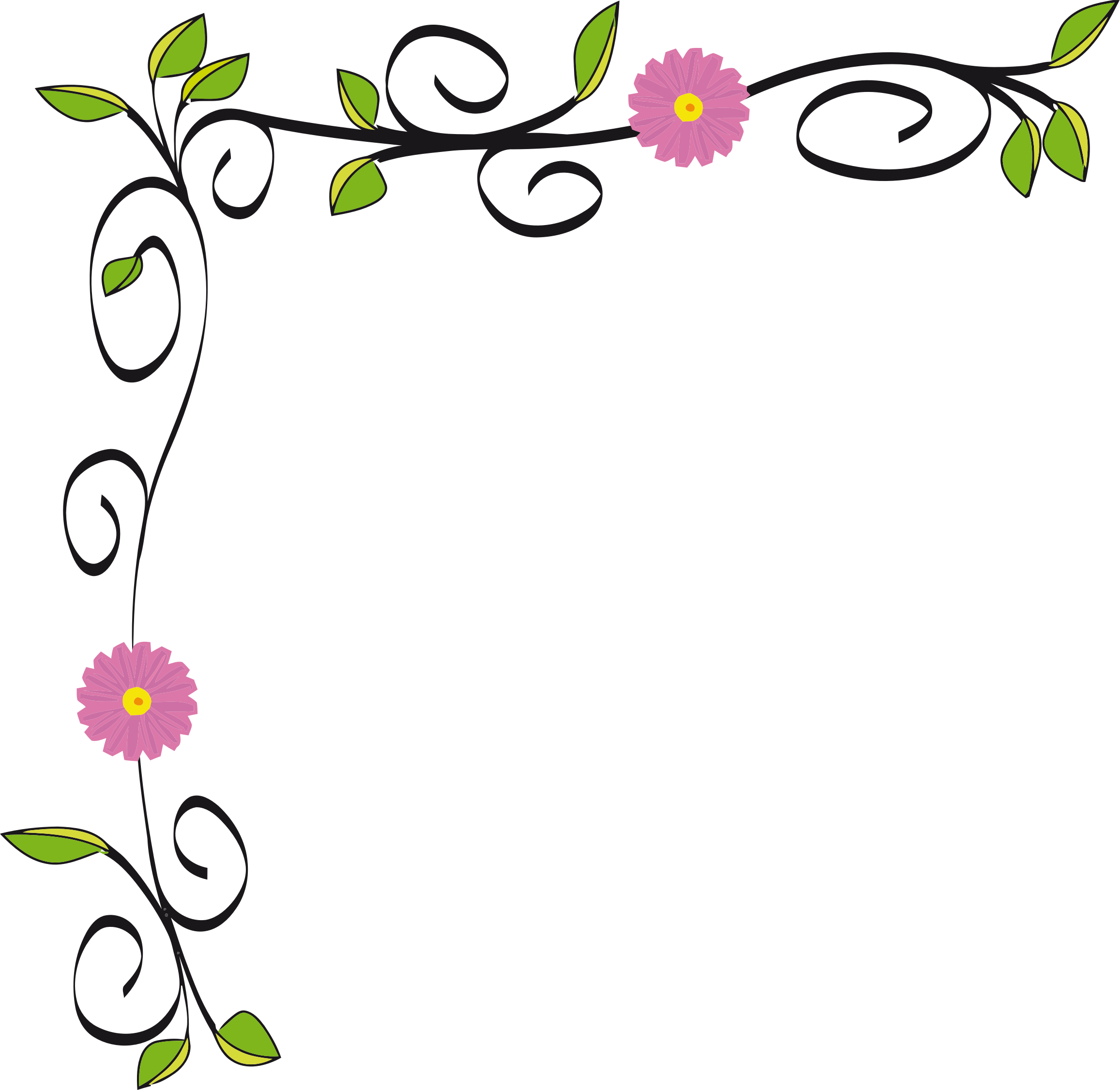 Floral Border Vectorized on Green Circle Frame