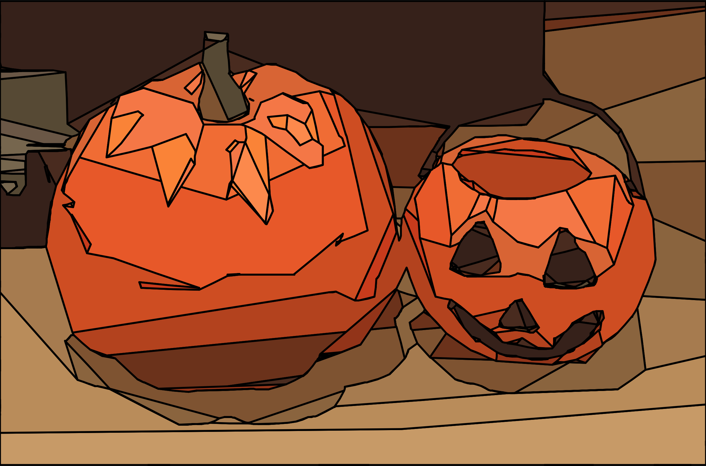 Pumpkin and Jack-o-Lantern by j4p4n