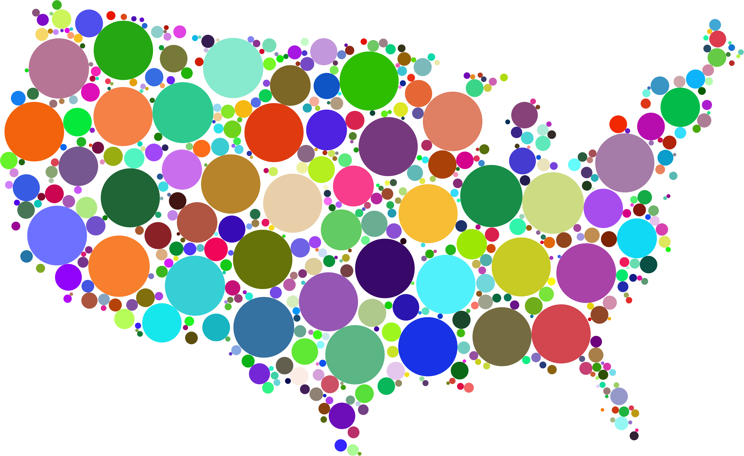 Clipart - Prismatic United States Map Circles