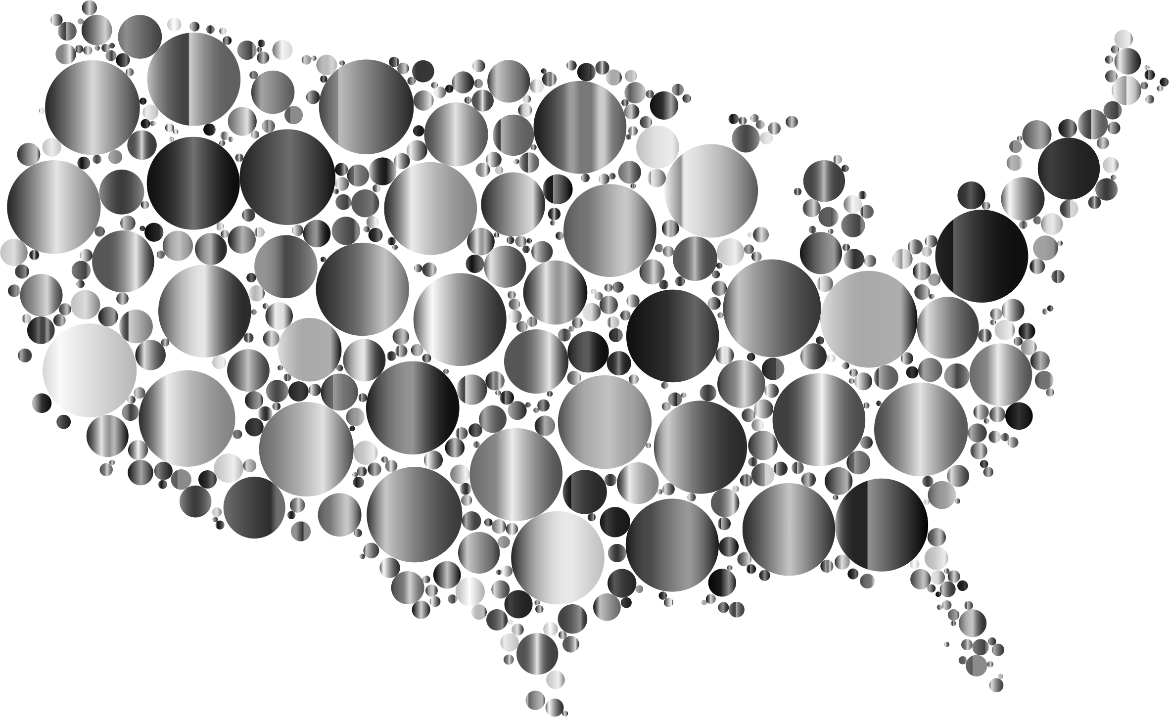 Prismatic United States Map Circles 5 by GDJ