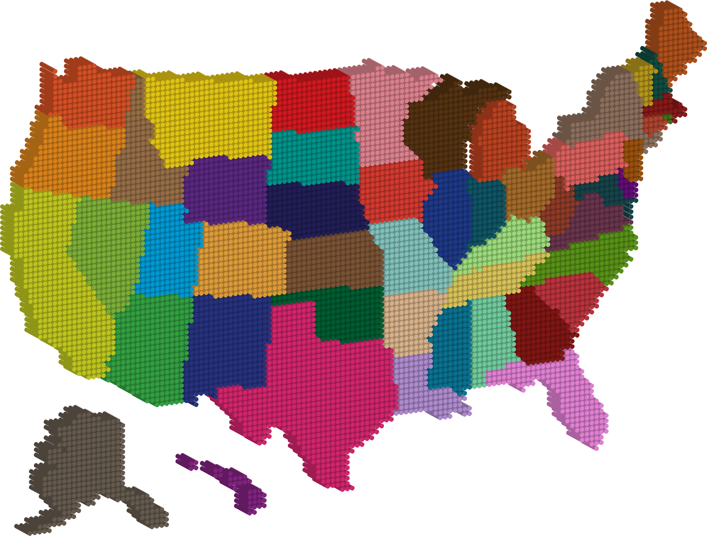 3D Multicolored United States Map Dots by GDJ