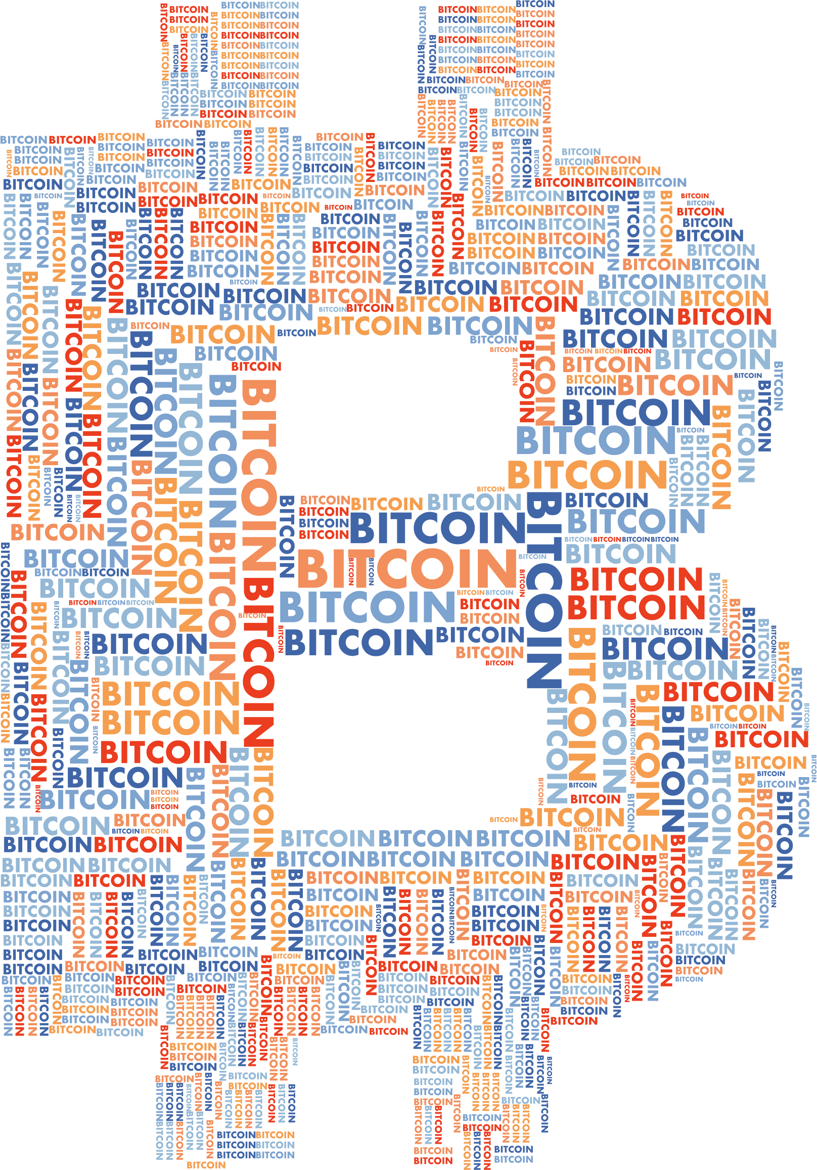 Bitcoin Logo Word Cloud No Background