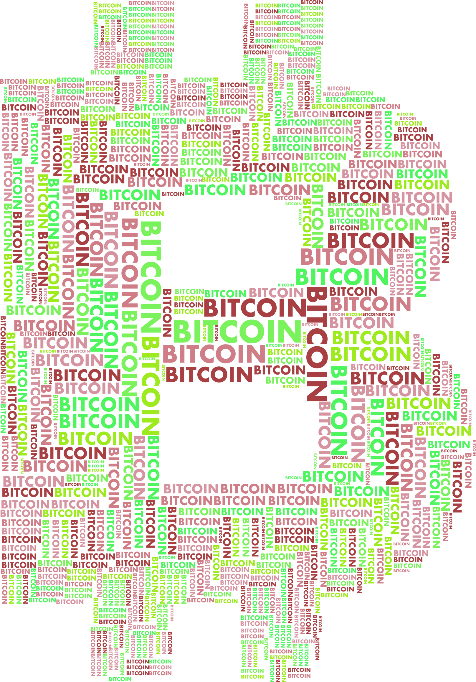 Bitcoin Logo Word Cloud Variation 2 No Background