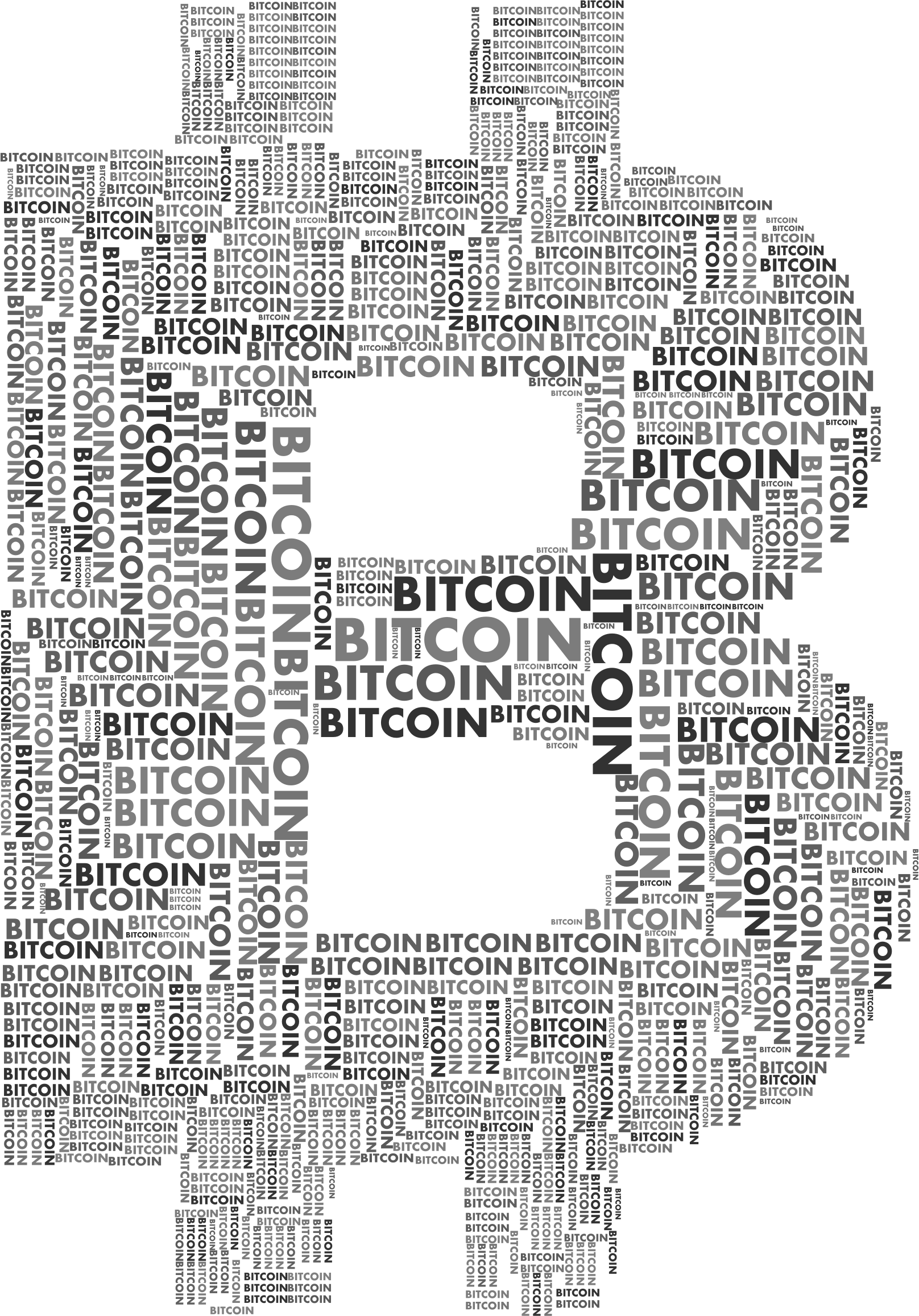 Bitcoin Logo Word Cloud Grayscale by GDJ