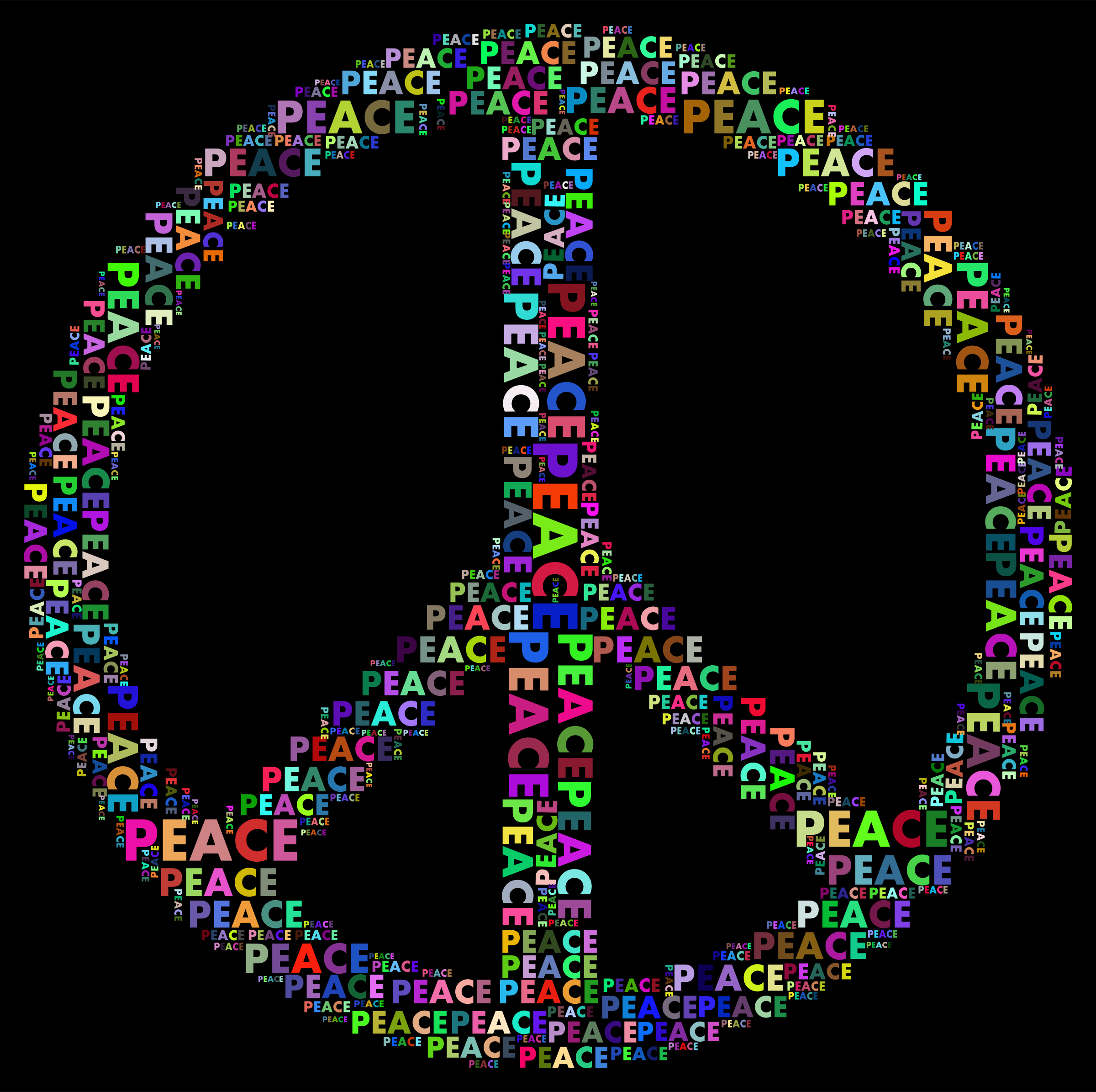 Prismatic Peace Sign Word Cloud by GDJ