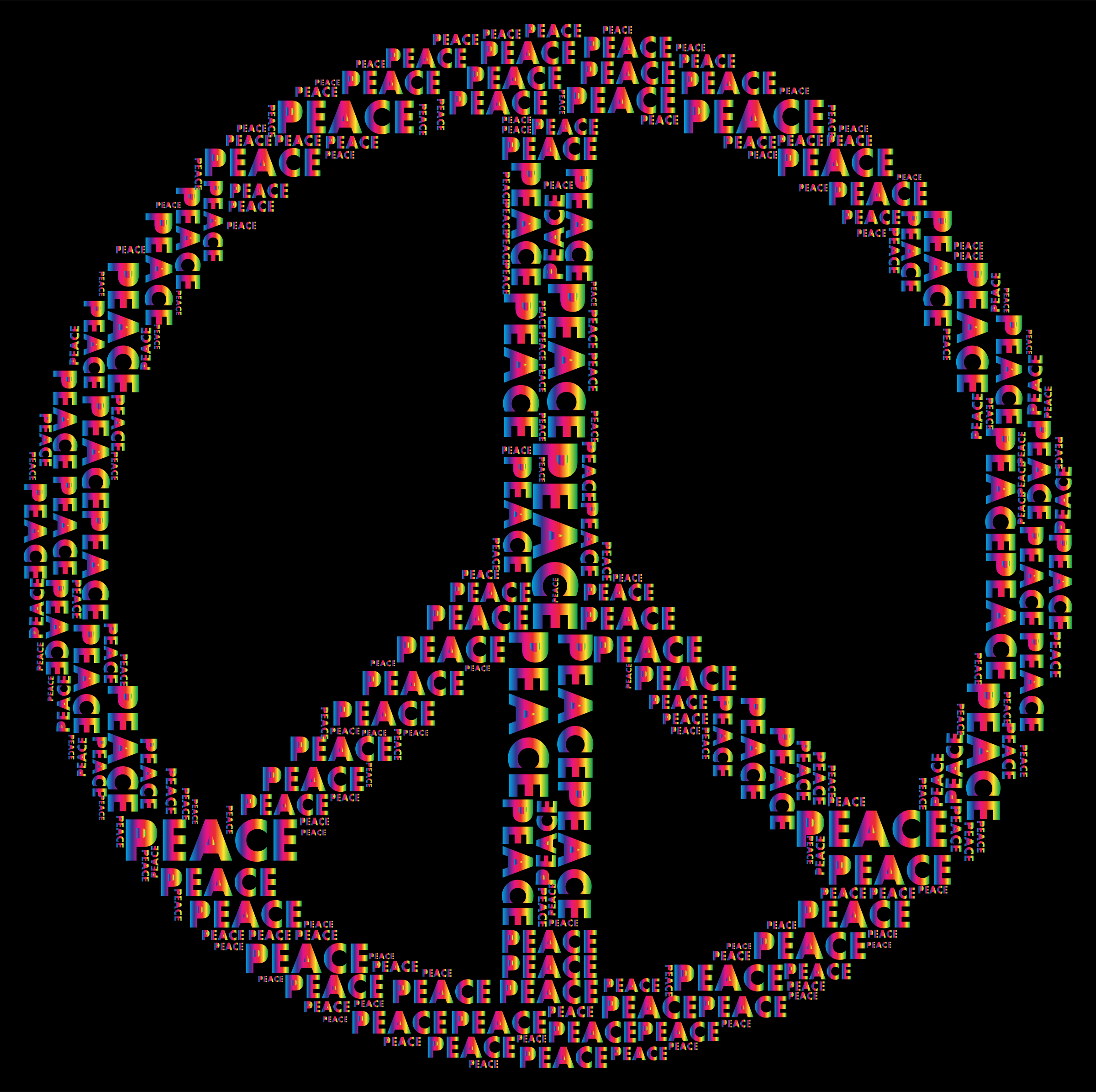 Spectrum Peace Sign Word Cloud by GDJ