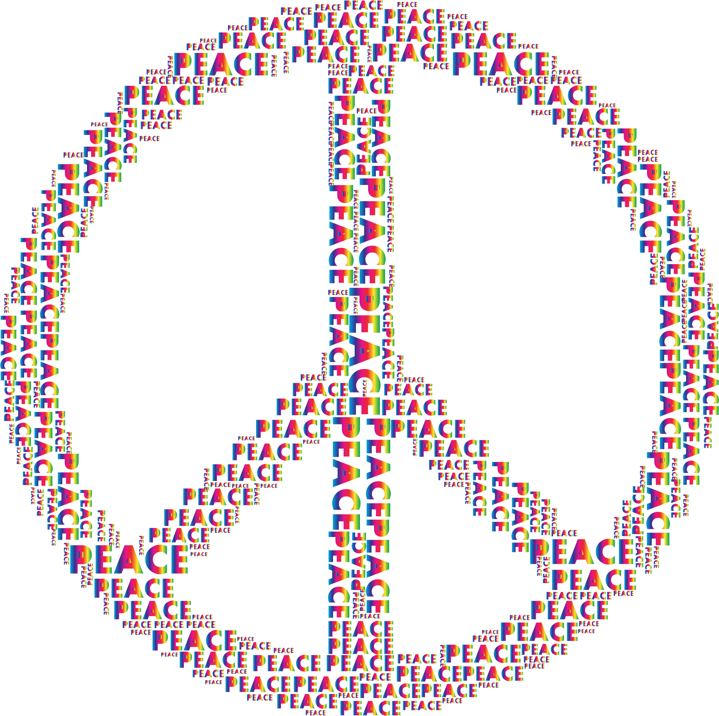 Spectrum Peace Sign Word Cloud No Background by GDJ