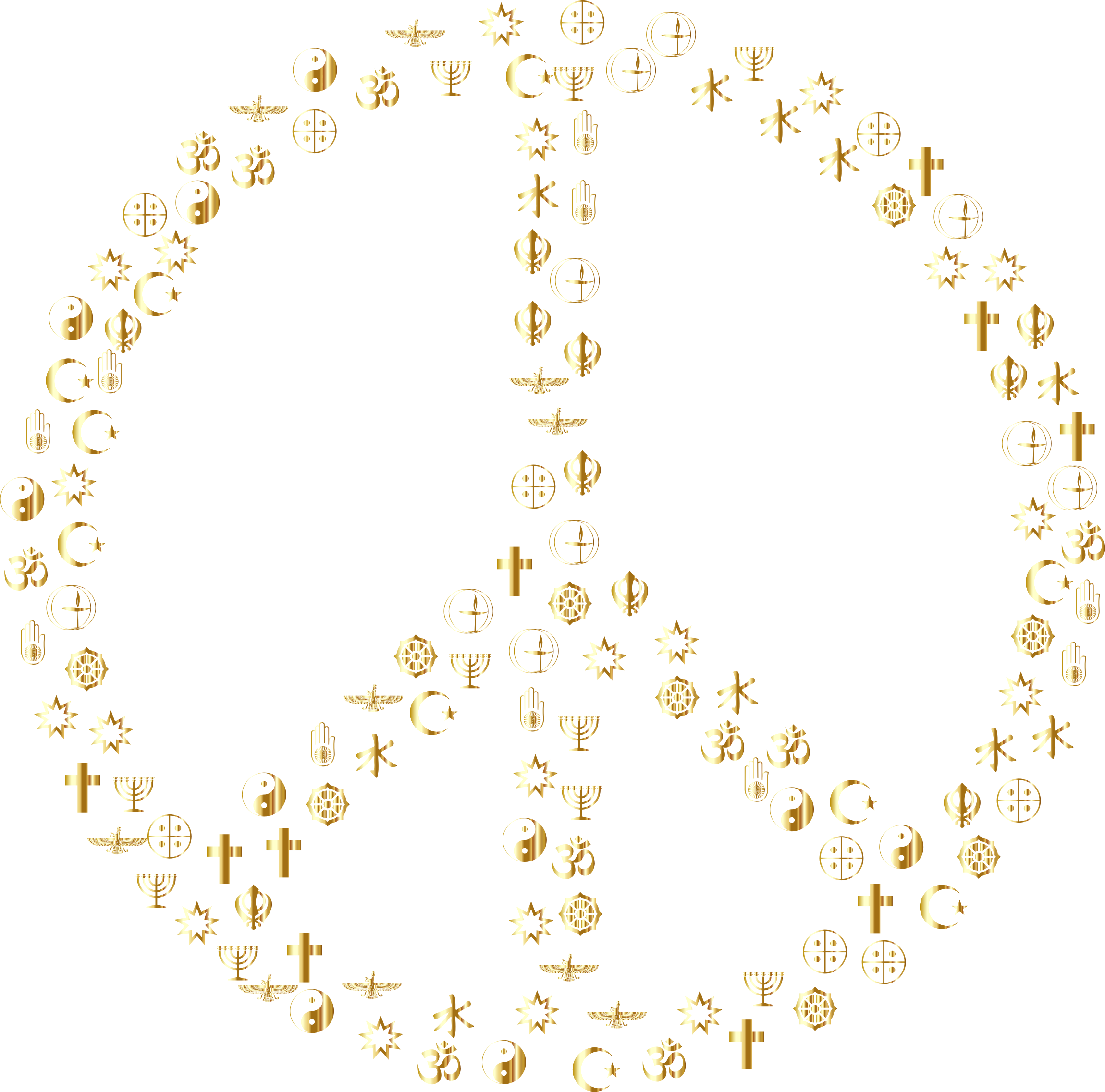Gold World Religions Peace No Background by GDJ