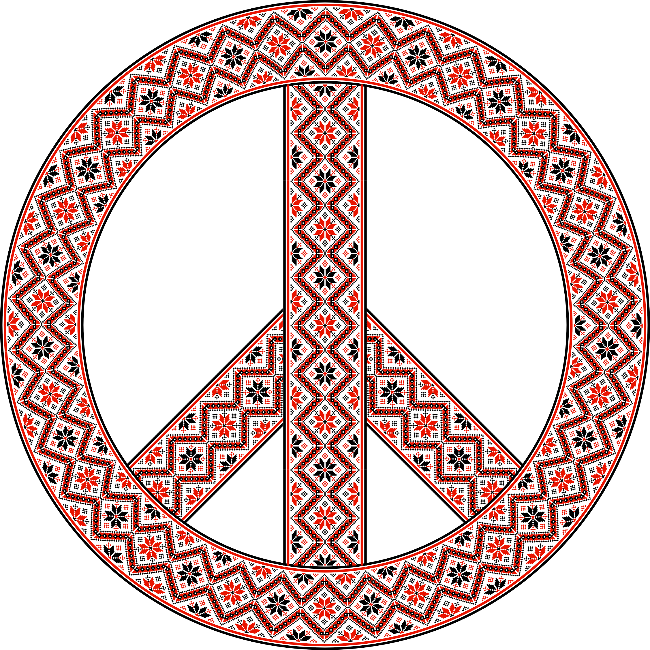 Ornate Floral Peace Sign by GDJ