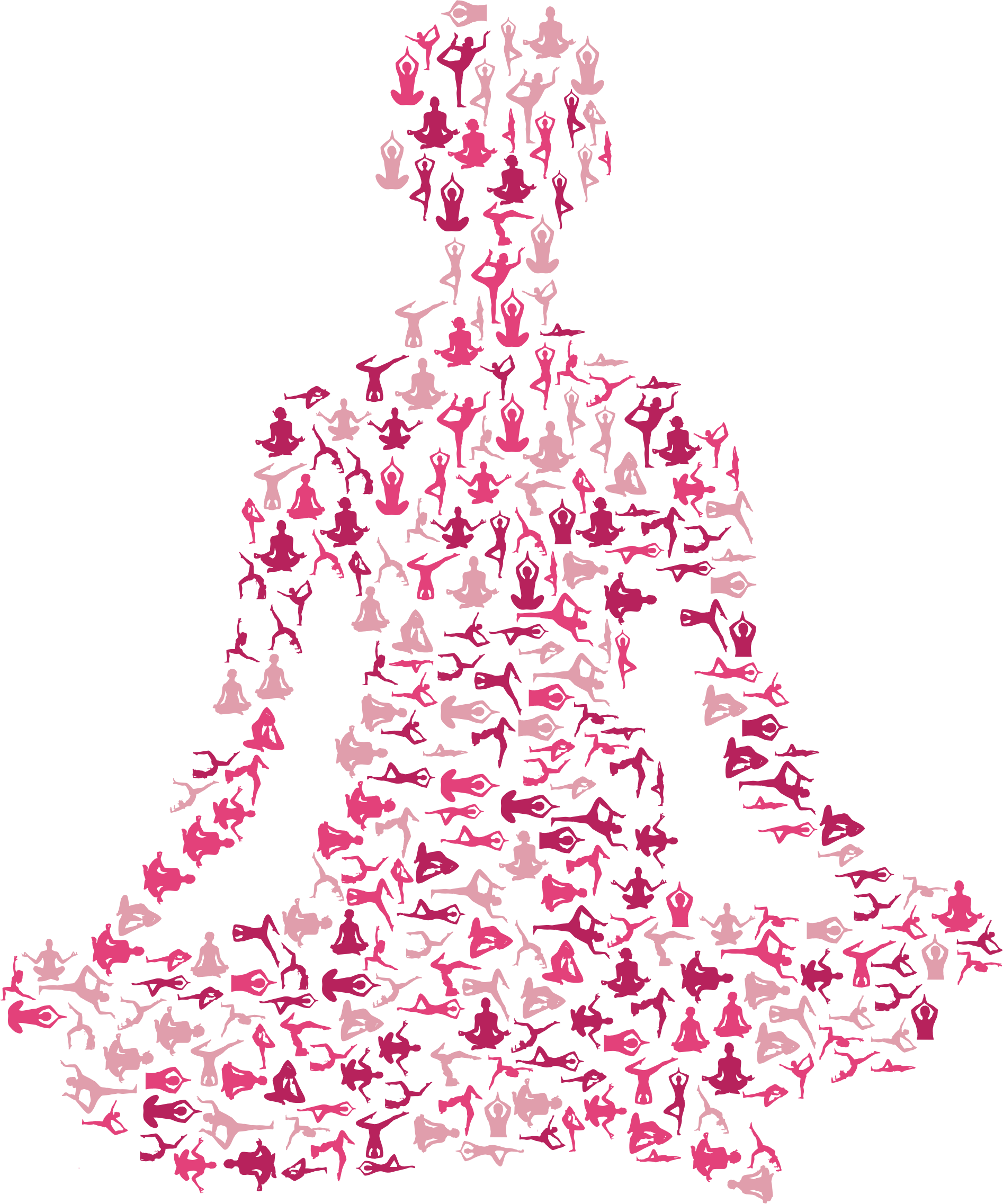 Female Yoga Pose Silhouette Fractal Variation 2 No Background by GDJ