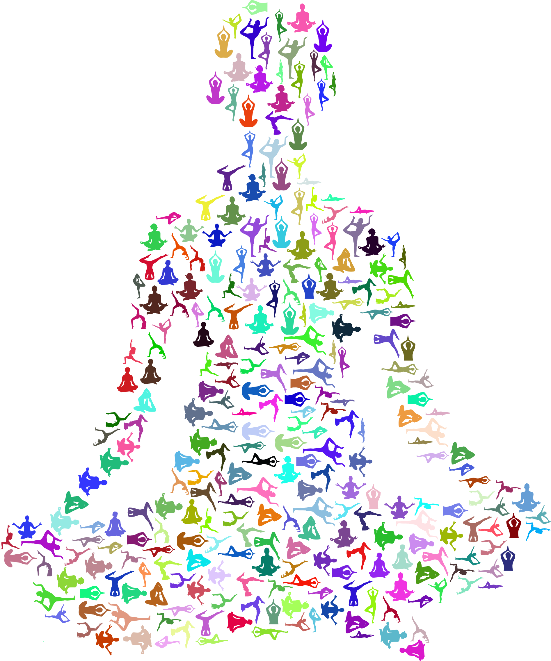 Prismatic Female Yoga Pose Silhouette Fractal No Background by GDJ
