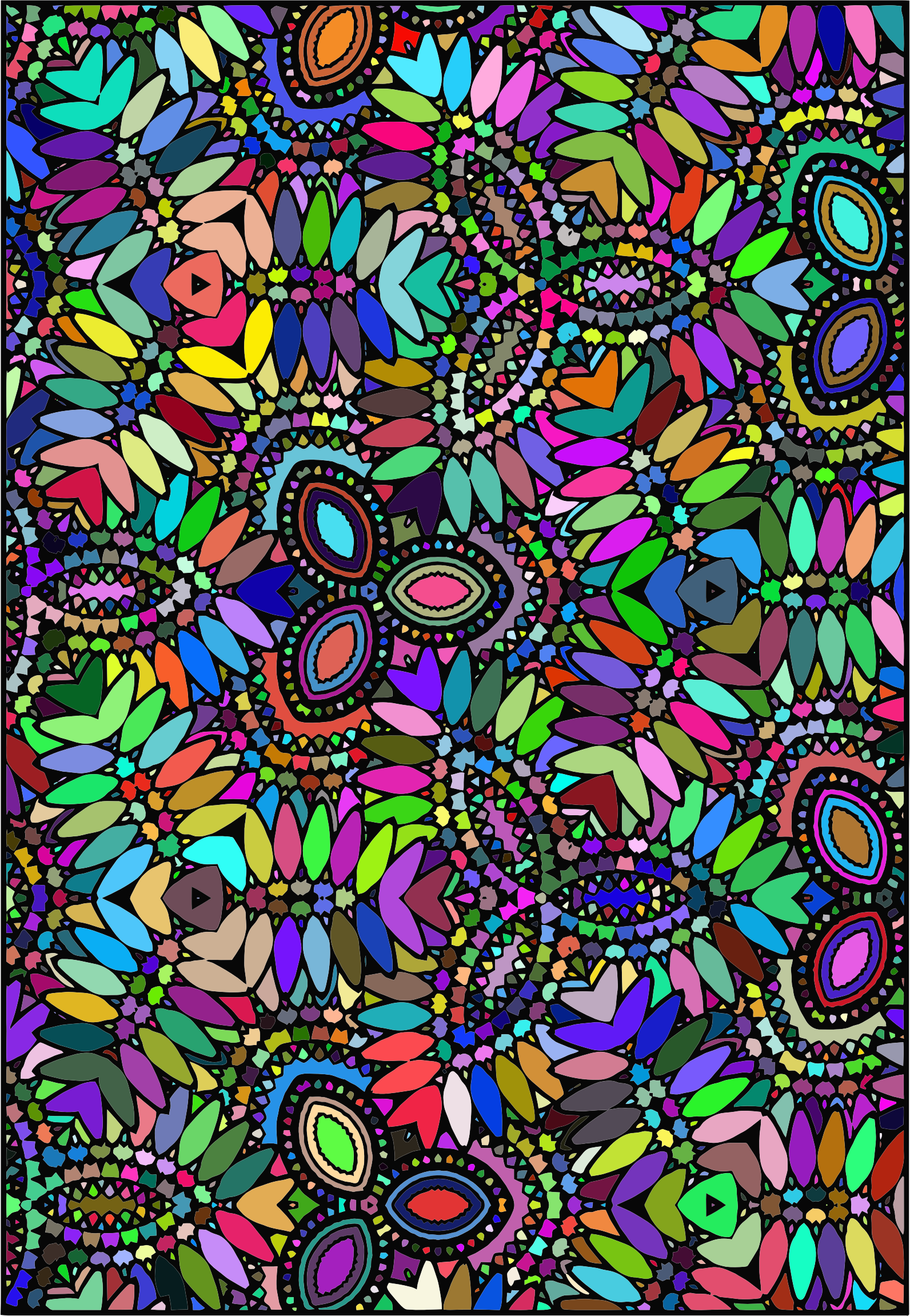 Prismatic Abstract Floral Coloring Design by GDJ
