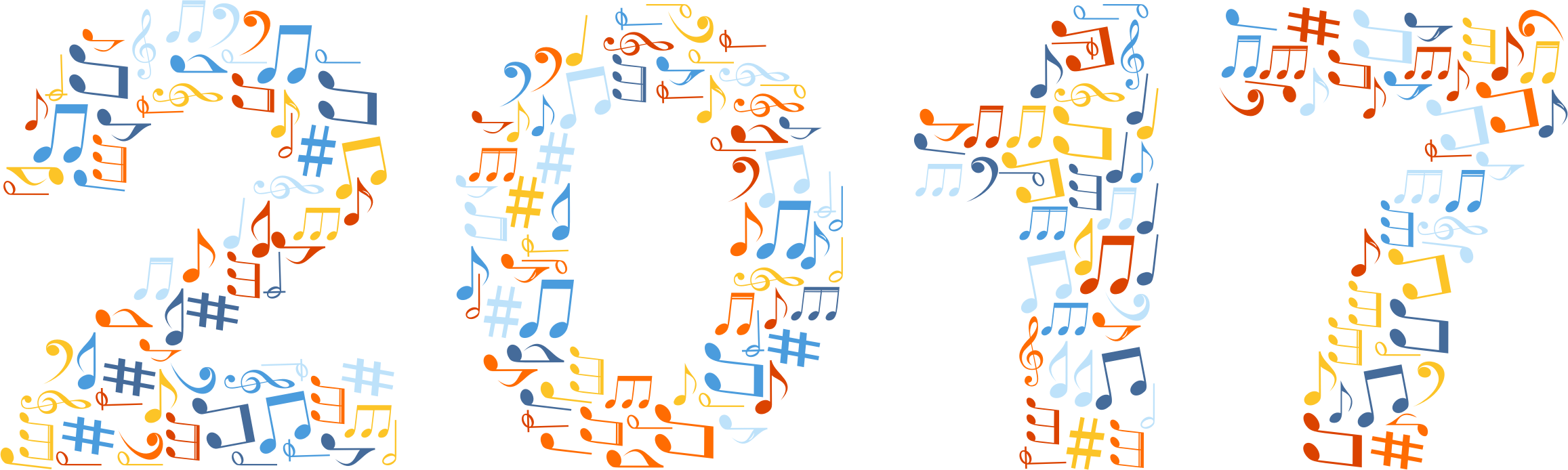 2017 Musical Notes Typography No Background by GDJ