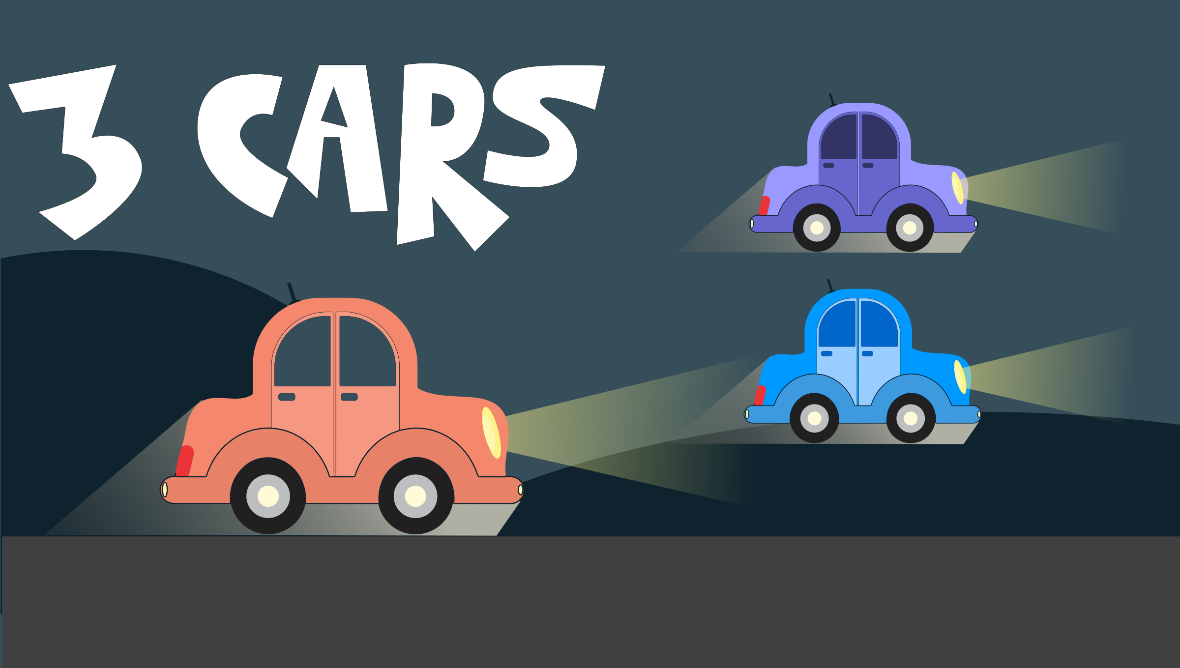 Cartoon car landscape remix 3 Color variations by monsterbraingames