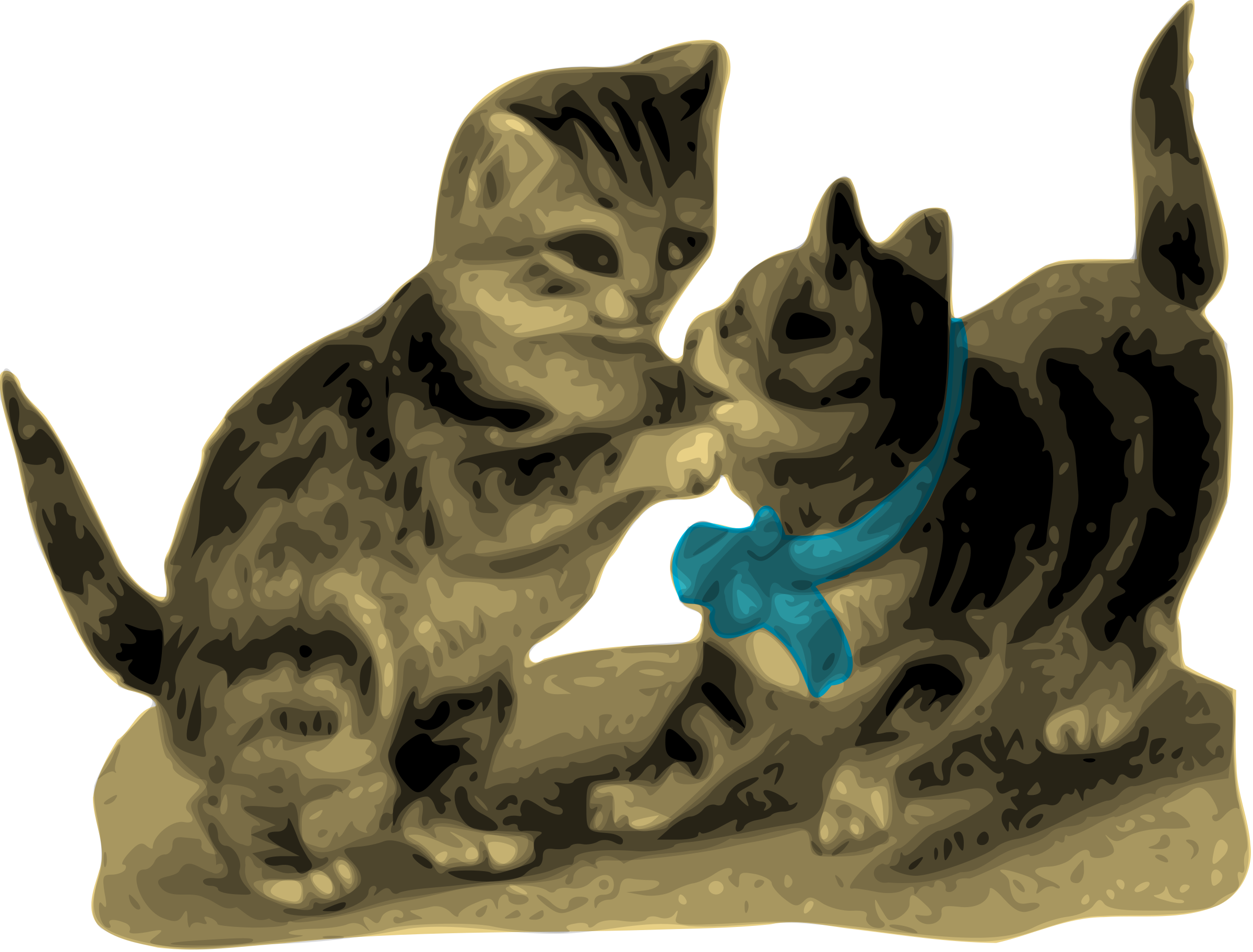 Kittens, One with Blue Ribbon by AlanO