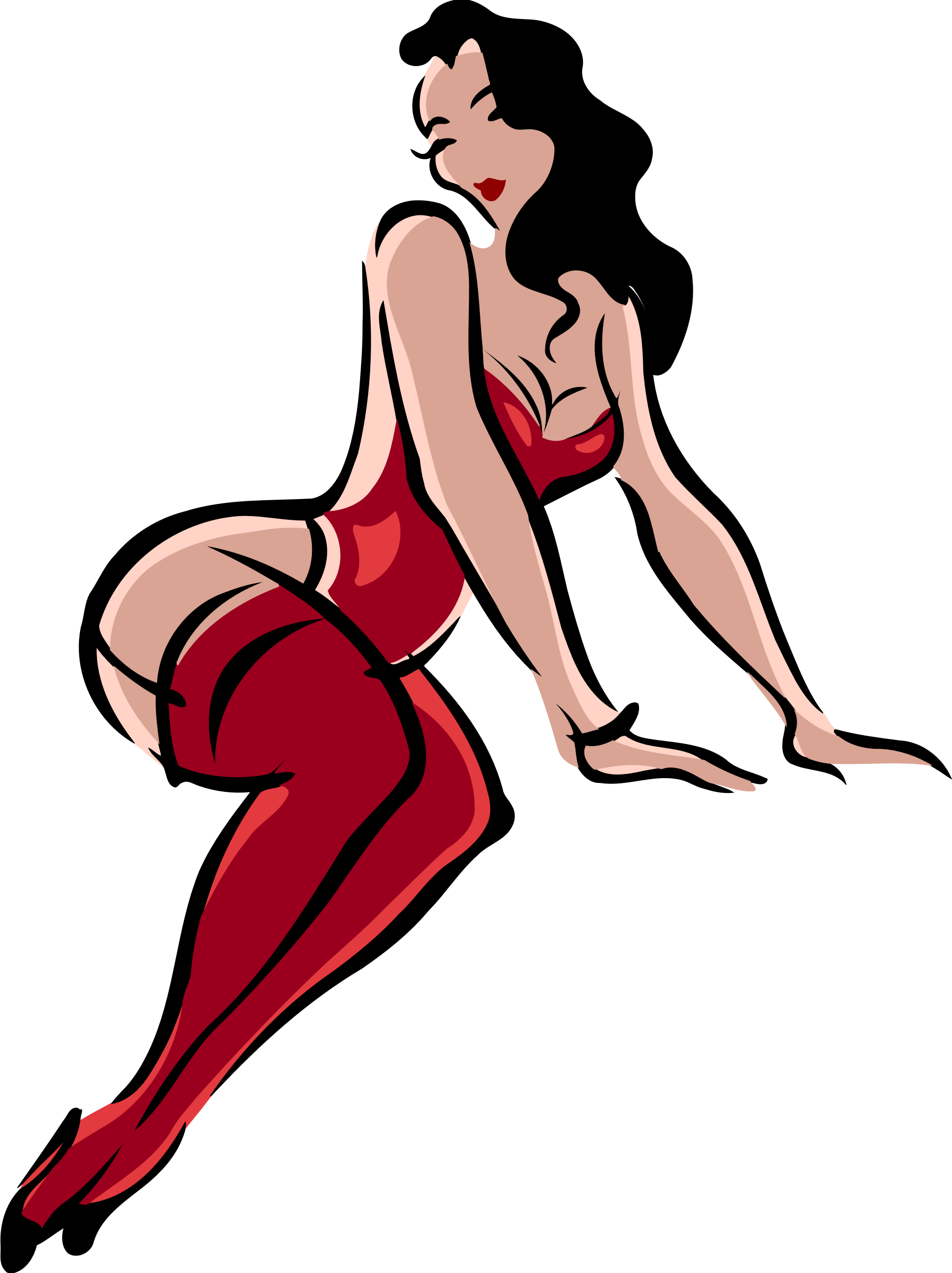 Lingerie model, light skin, black hair, red clothes by Firkin