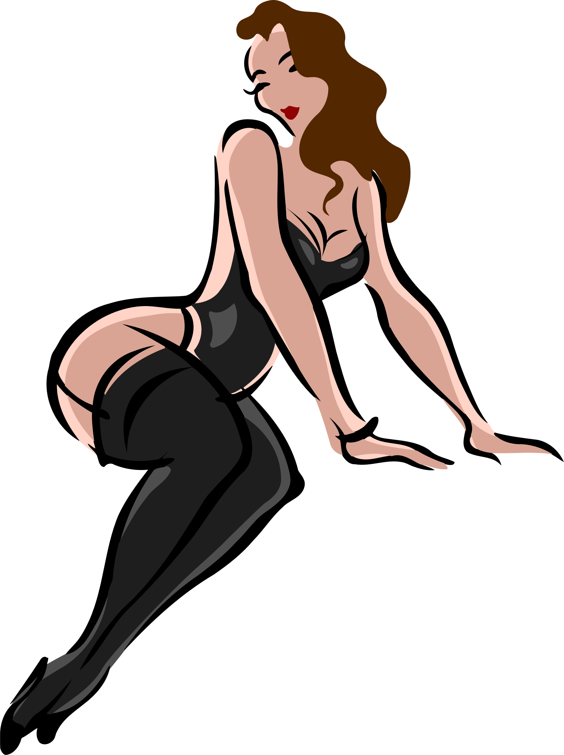 Lingerie model, light skin, brown hair, black clothes by Firkin