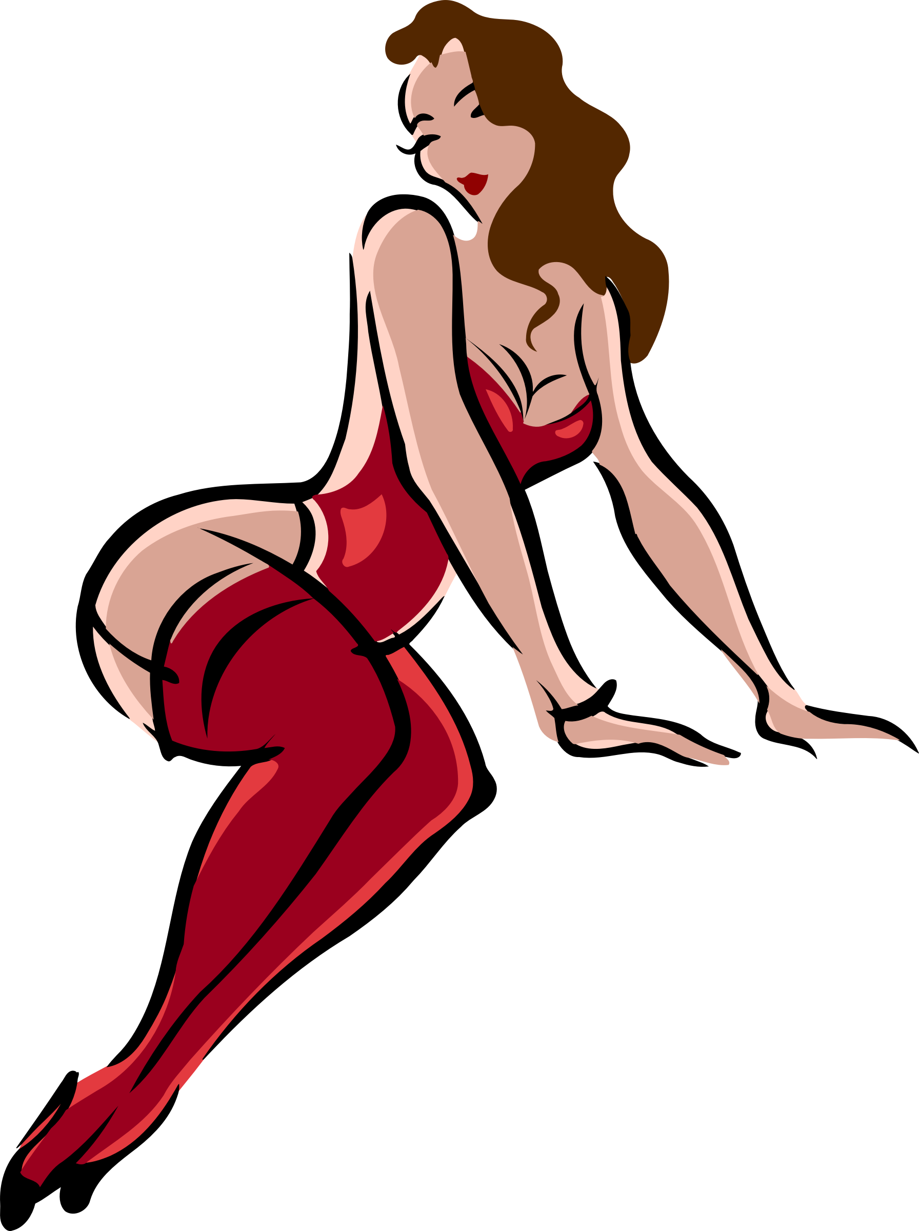 Lingerie model, light skin, brown hair, red clothes by Firkin