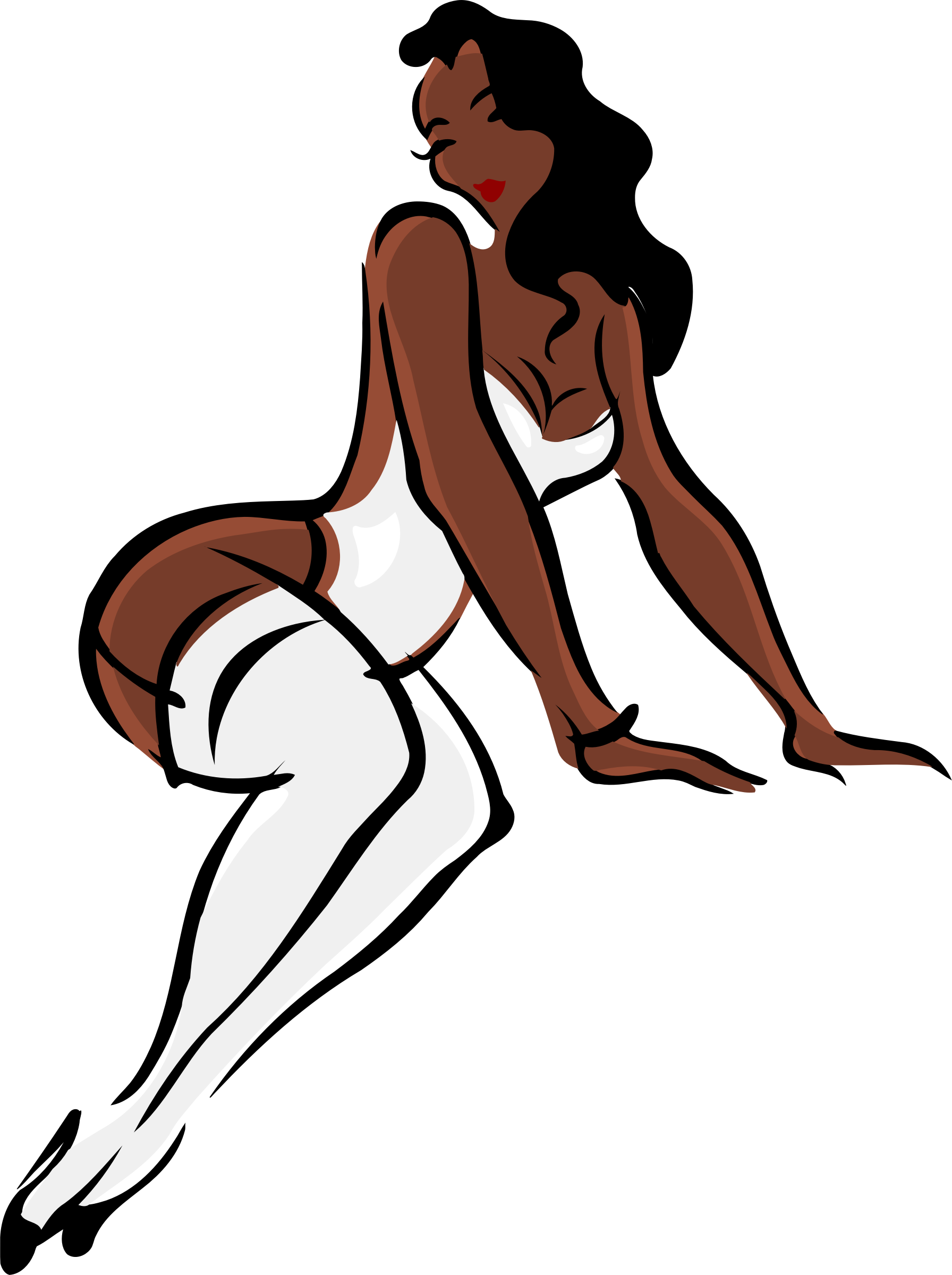 Lingerie model, dark skin, black hair, white clothes by Firkin