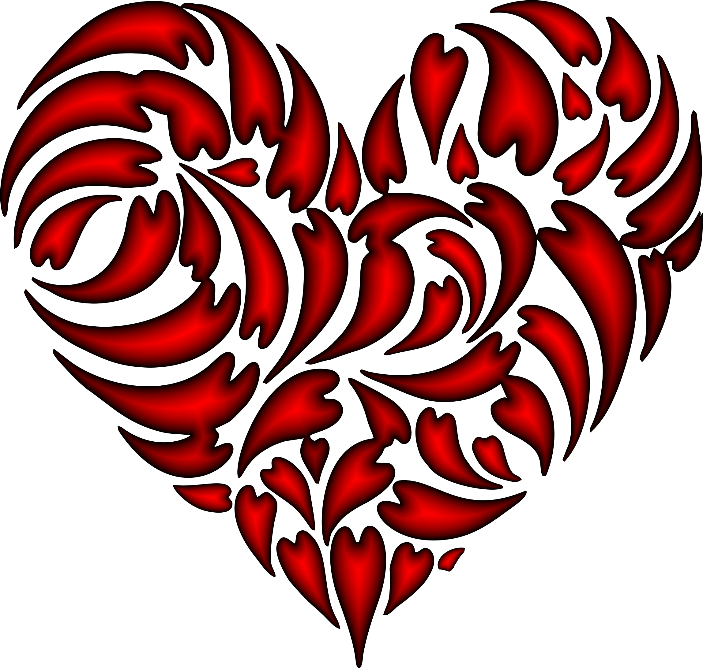 Abstract Distorted Heart Fractal Crimson by GDJ