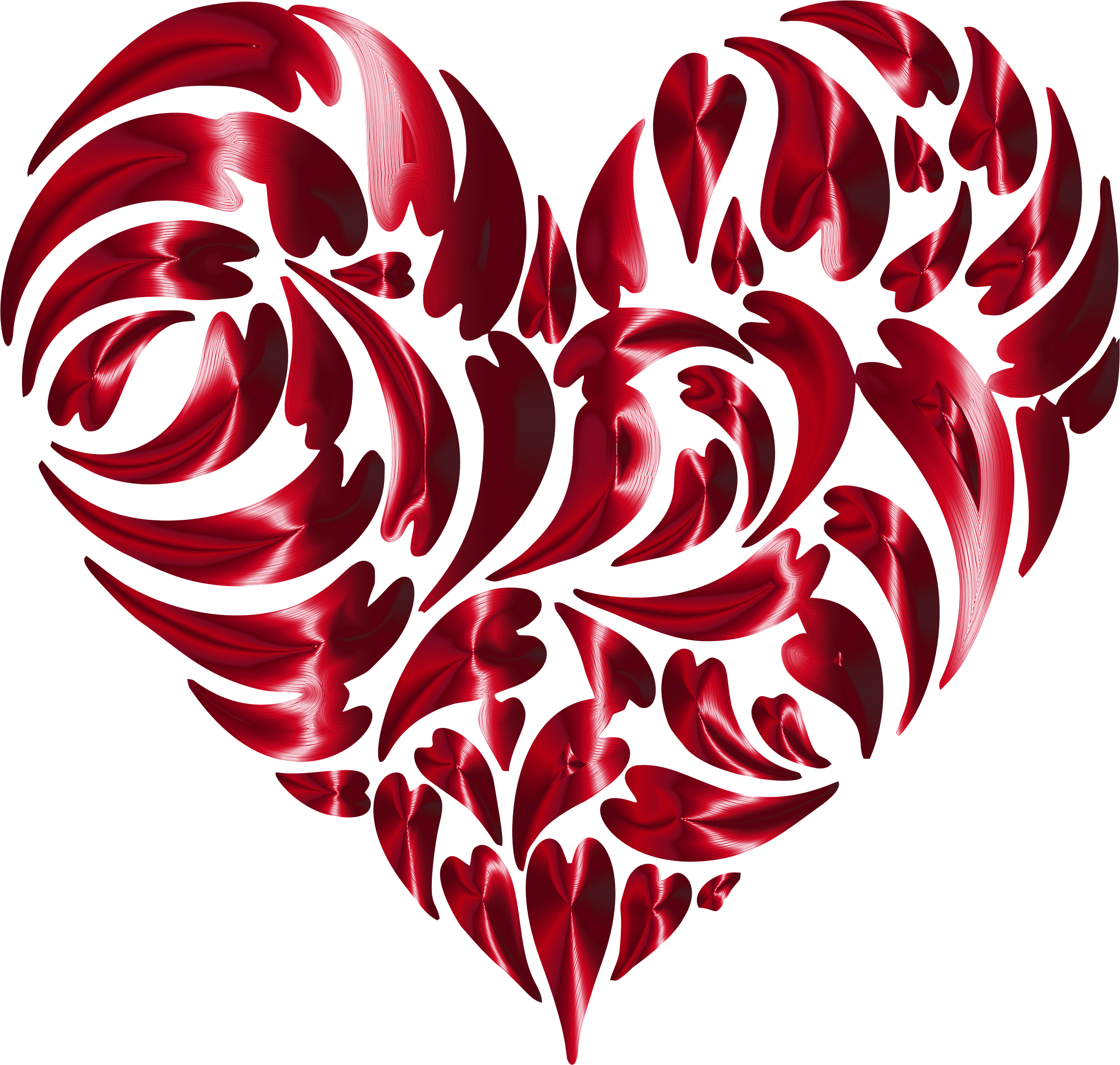 Abstract Distorted Heart Fractal Vermilion No Background by GDJ