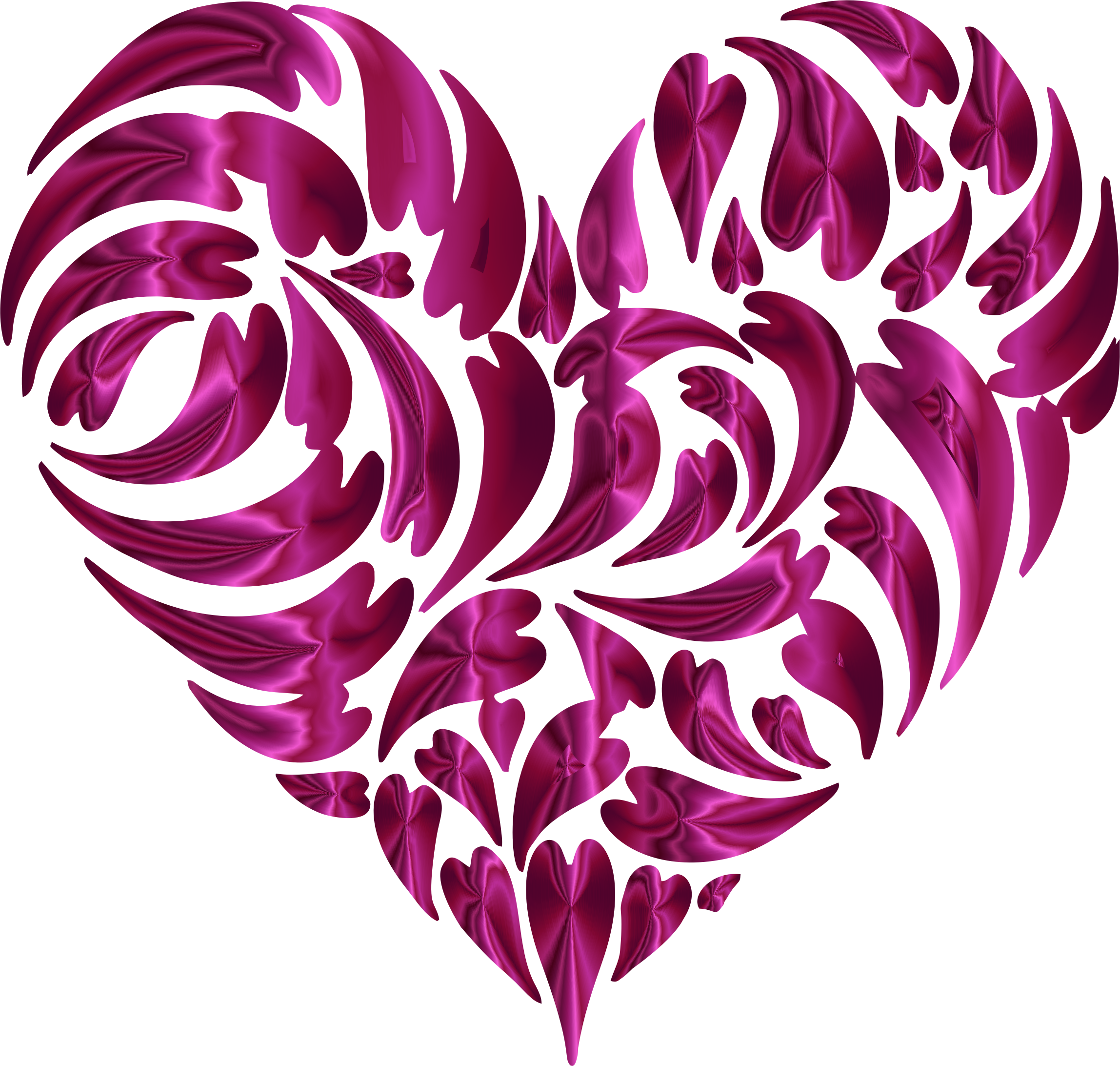 Abstract Distorted Heart Fractal Pink by GDJ