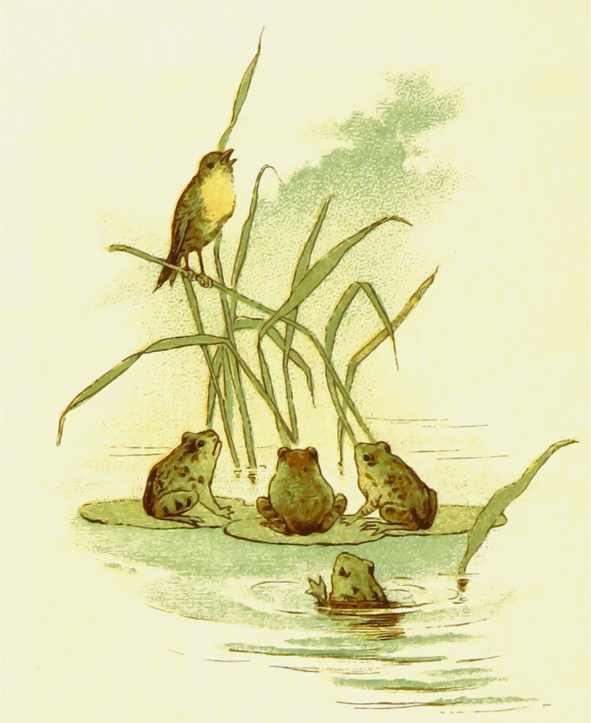 Bird with frogs by Firkin