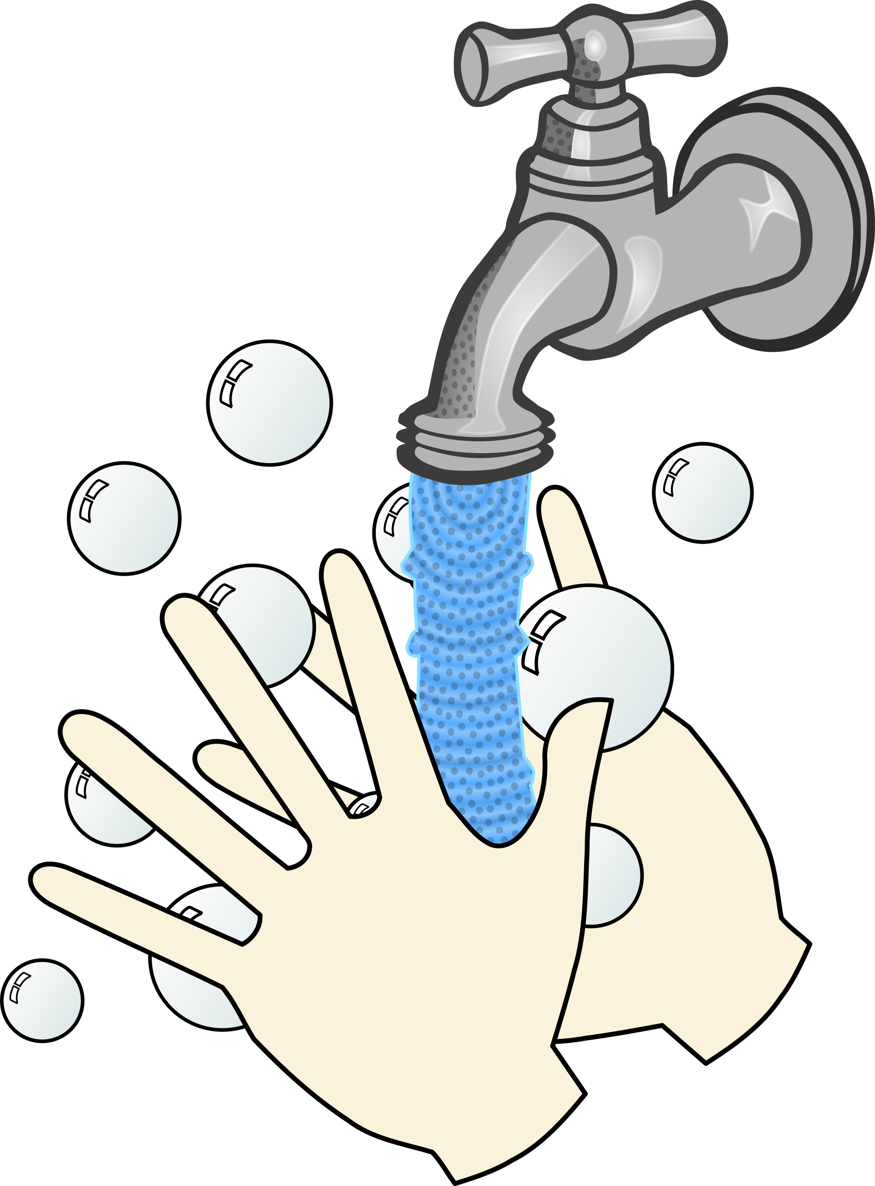 Good Kitchen Faucet Clipart Washing Hands With Soap And Running Water
