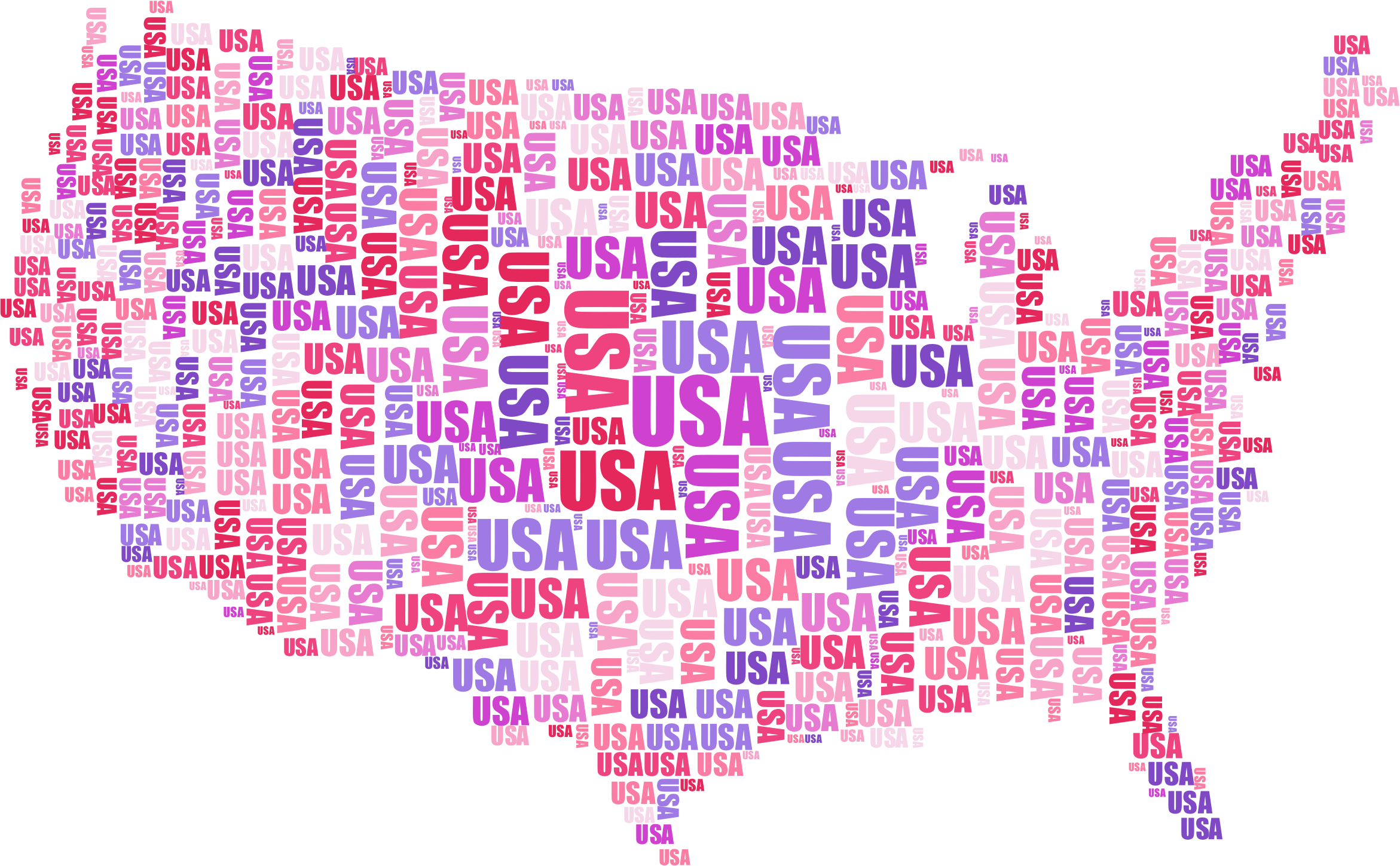 USA Word Cloud No Background by GDJ