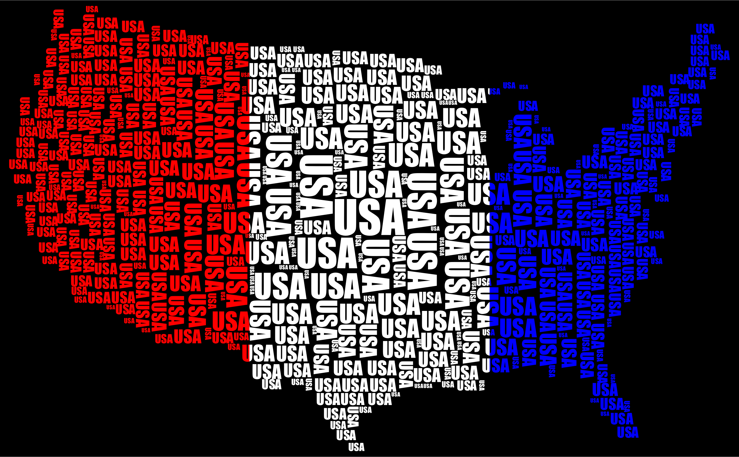 USA Word Cloud Red White Blue by GDJ