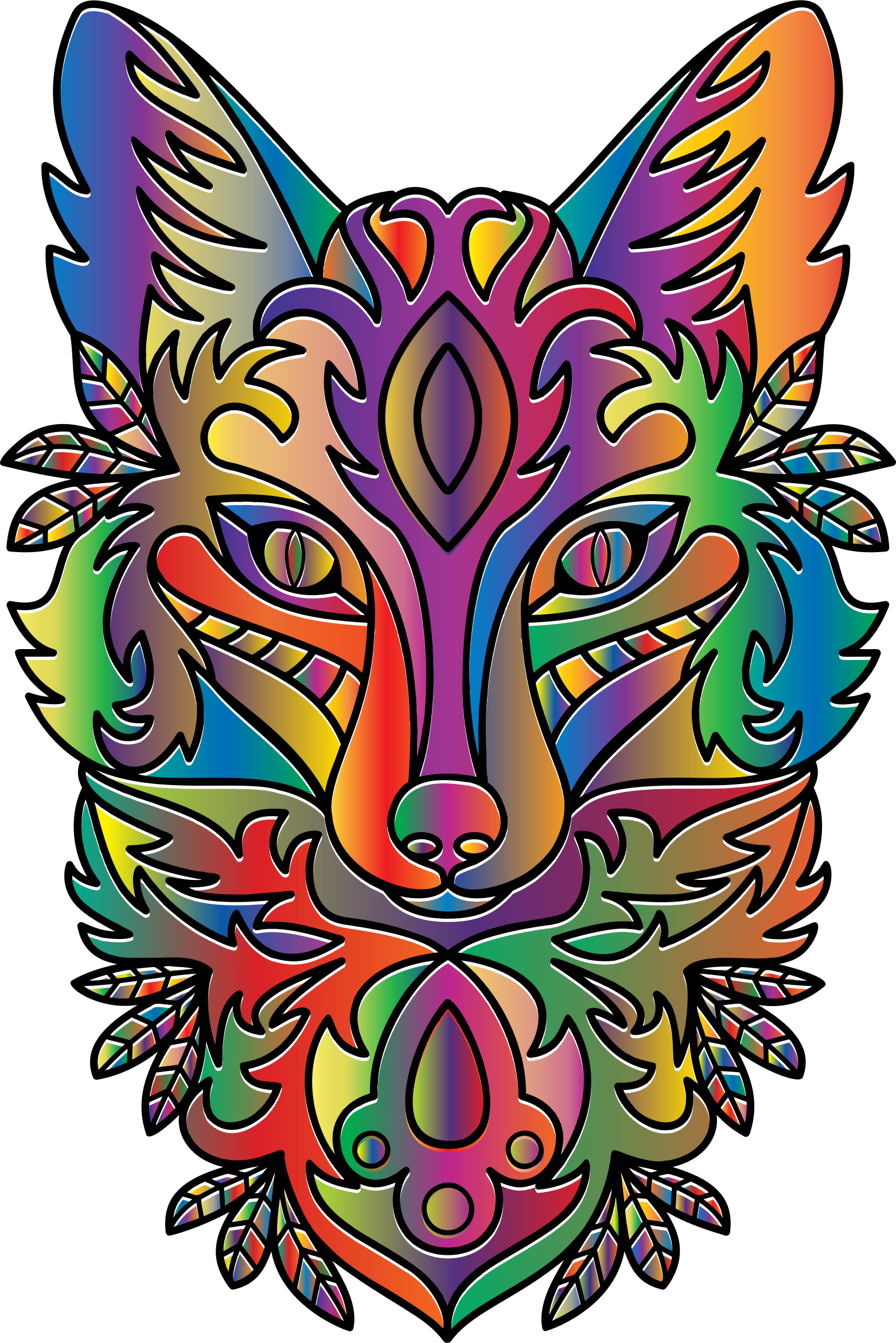 Prismatic Ornamental Fox Line Art by GDJ