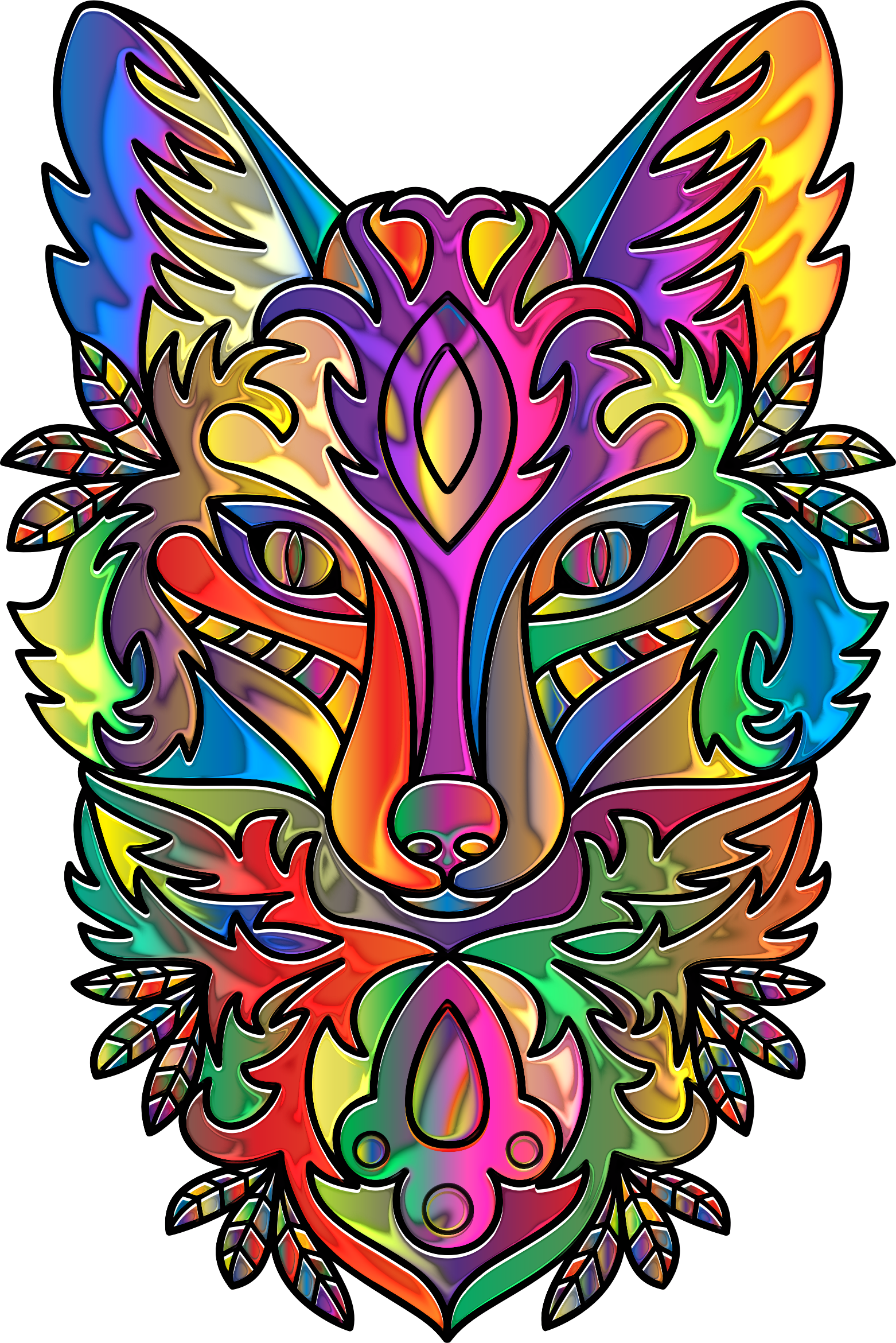 Prismatic Ornamental Fox Line Art Enhanced by GDJ