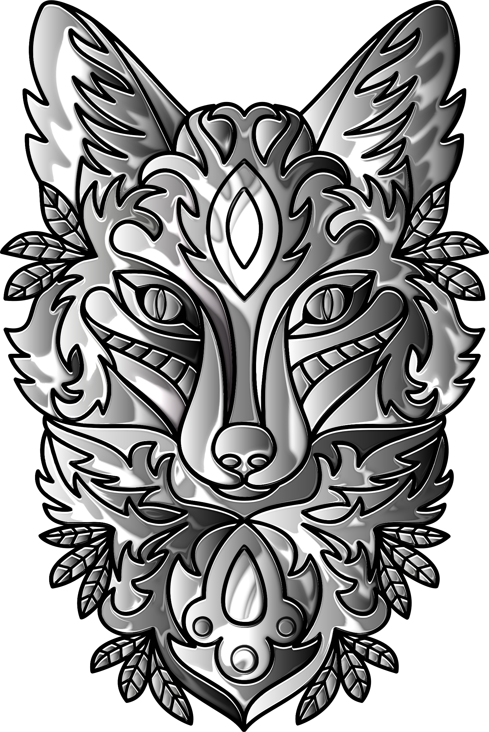 Duochromatic Ornamental Fox Line Art Enhanced by GDJ