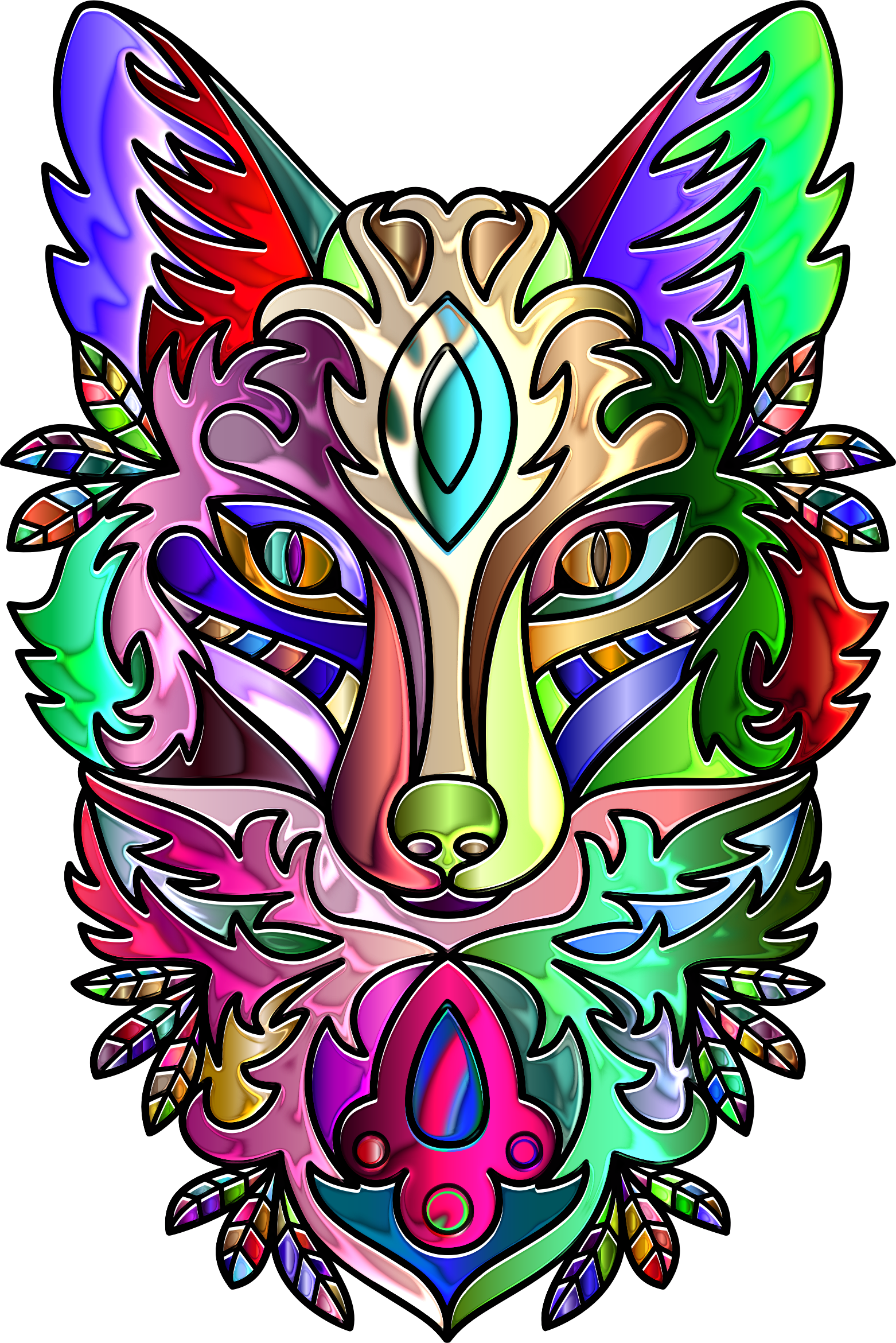 Chromatic Ornamental Fox Line Art Enhanced by GDJ