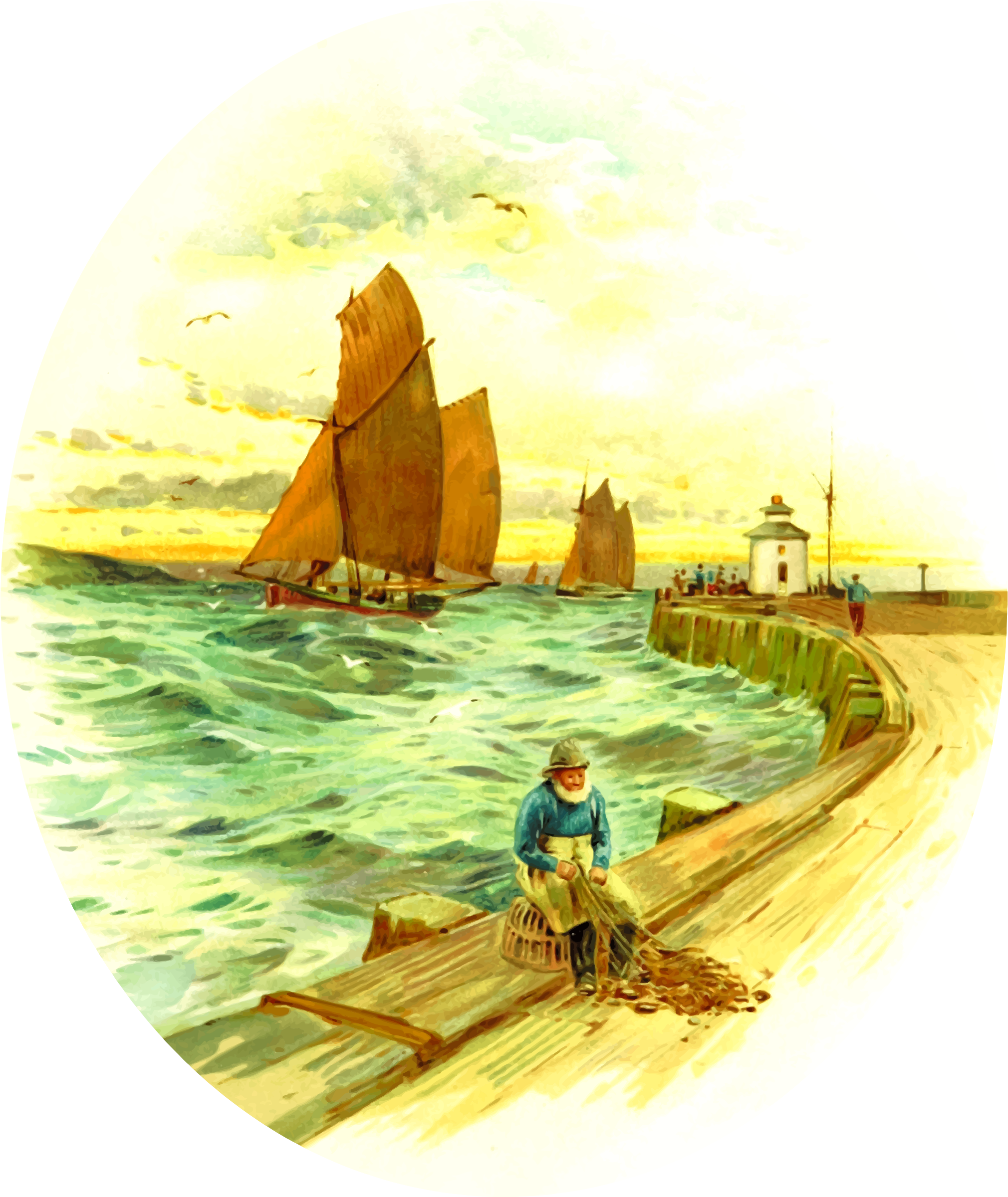 Harbour scene by Firkin