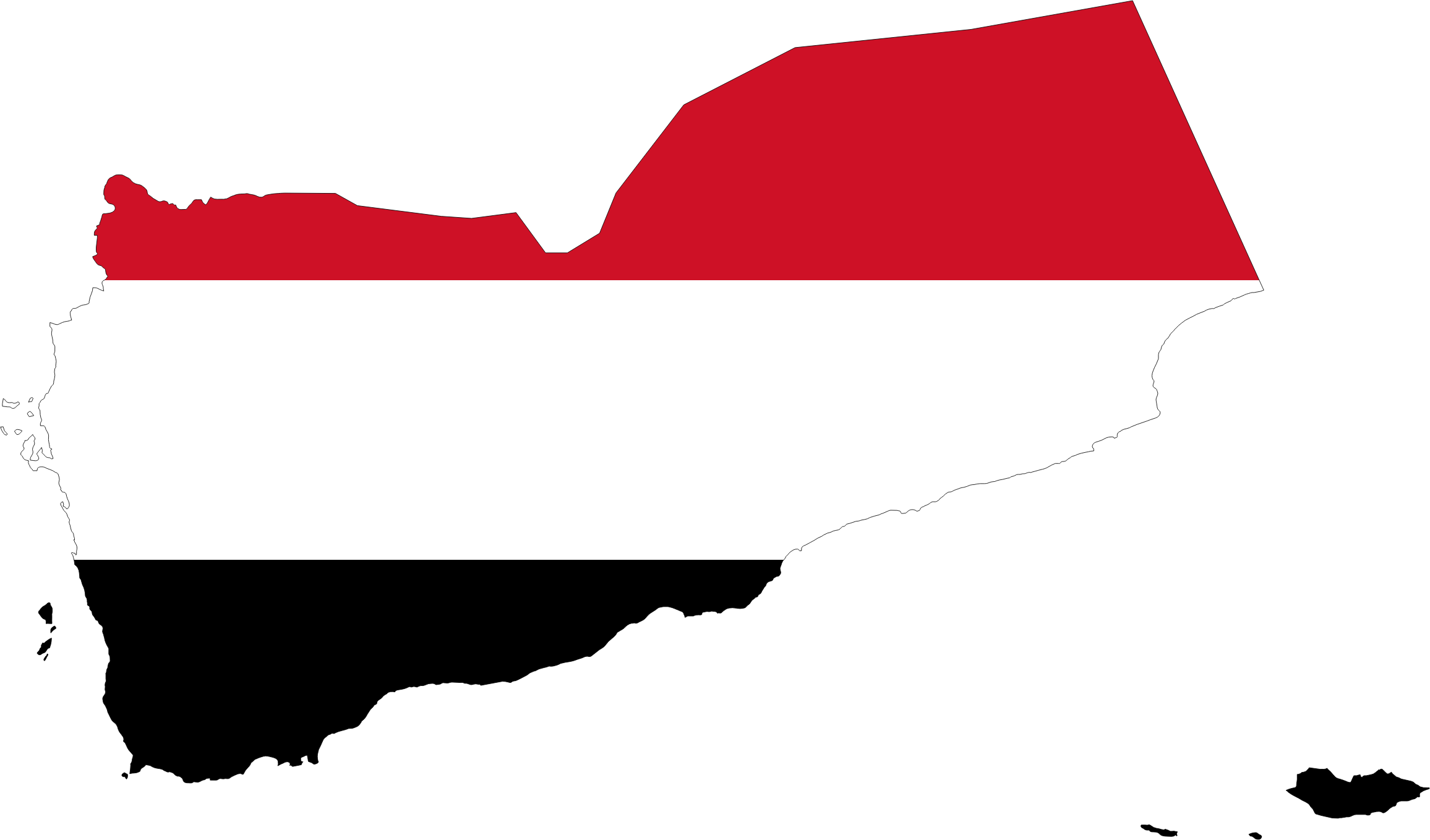 Yemen Map Flag With Stroke by GDJ