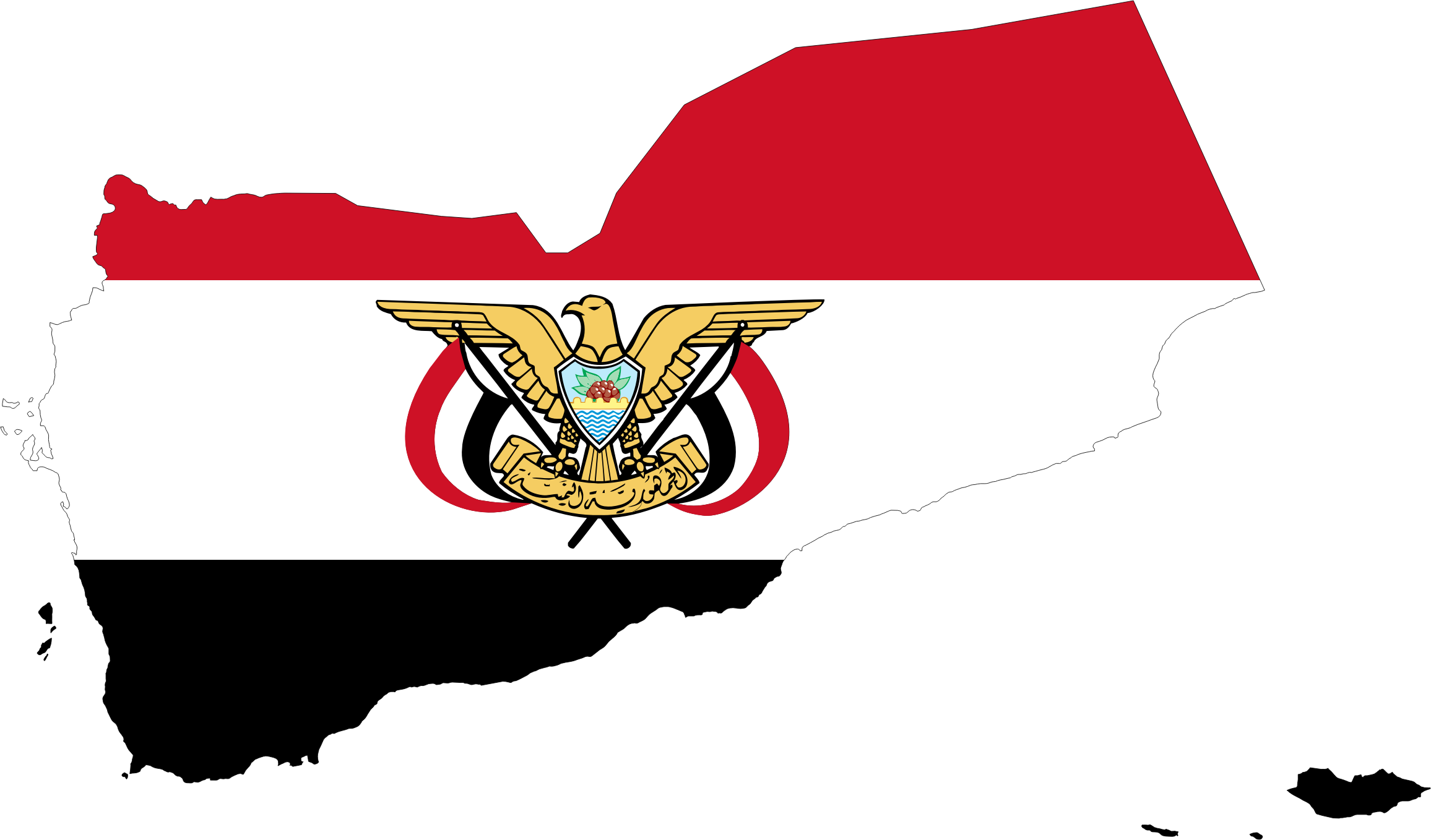 Clipart - Yemen Map Flag With Stroke And Emblem