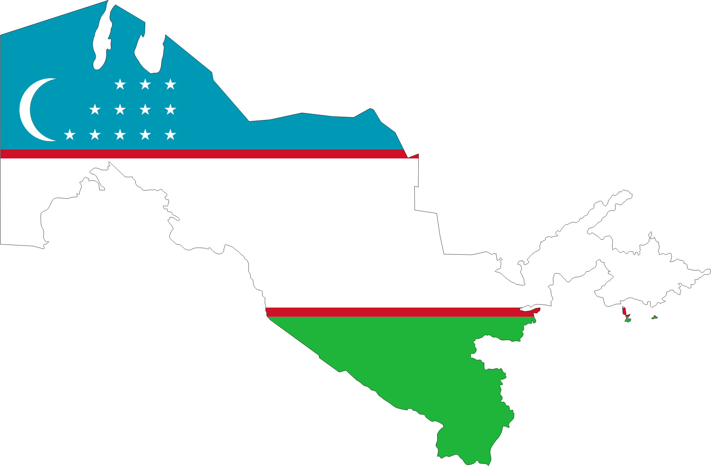 Uzbekistan Map Flag With Stroke by GDJ